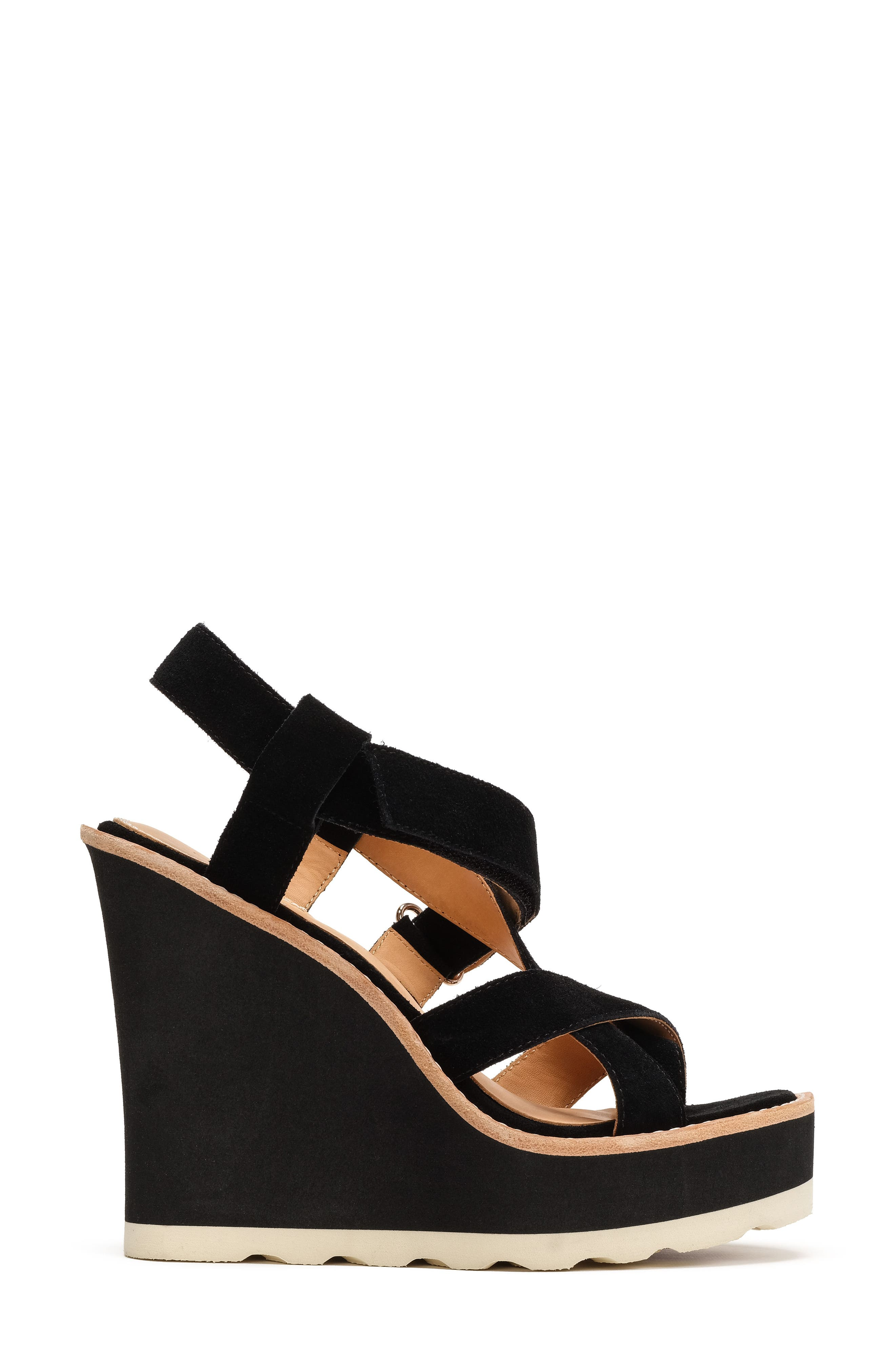 Rae Strappy Wedge Sandal,                             Alternate thumbnail 3, color,                             001