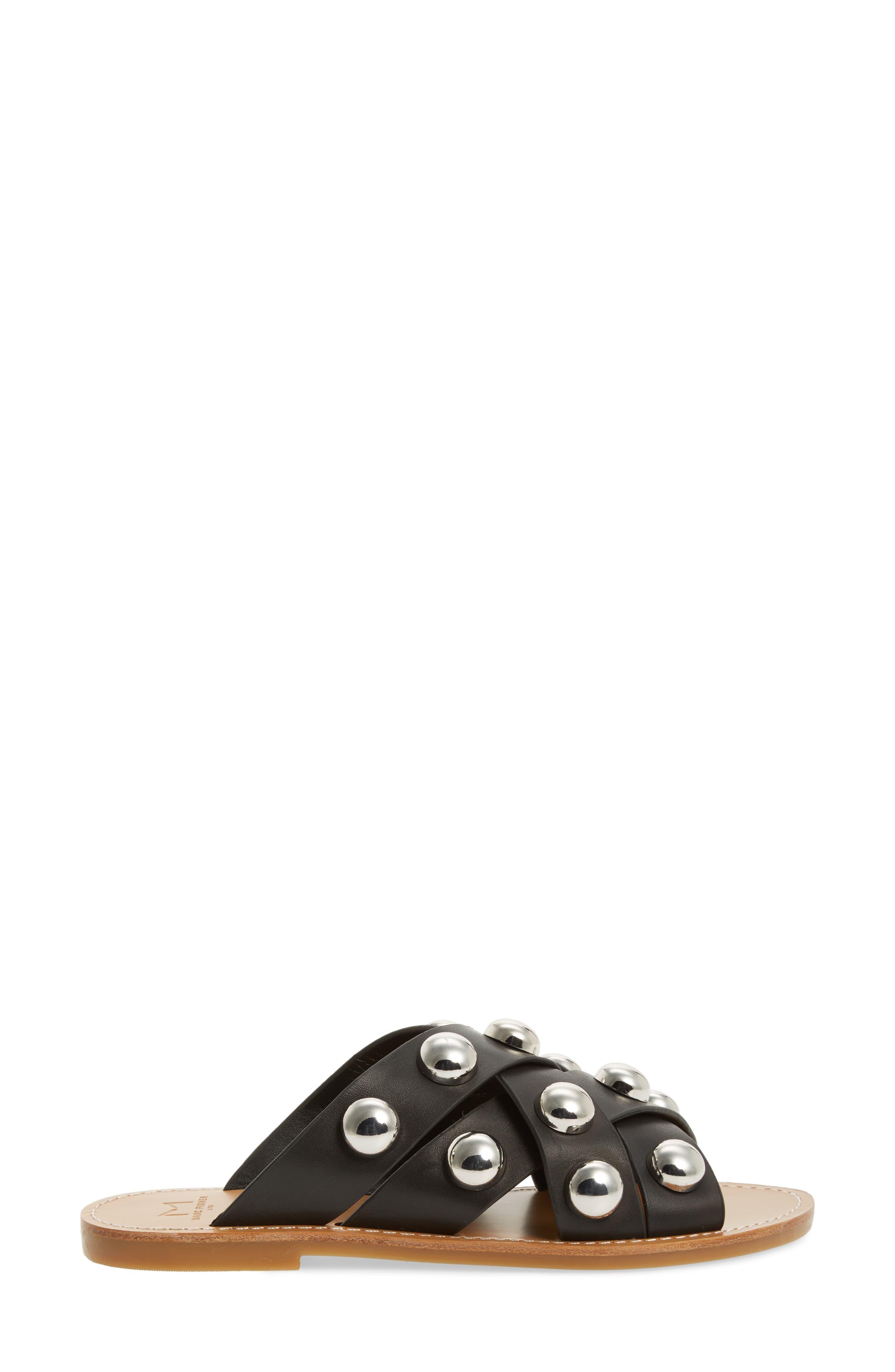 MARC FISHER LTD,                             Raidan Studded Sandal,                             Alternate thumbnail 3, color,                             001