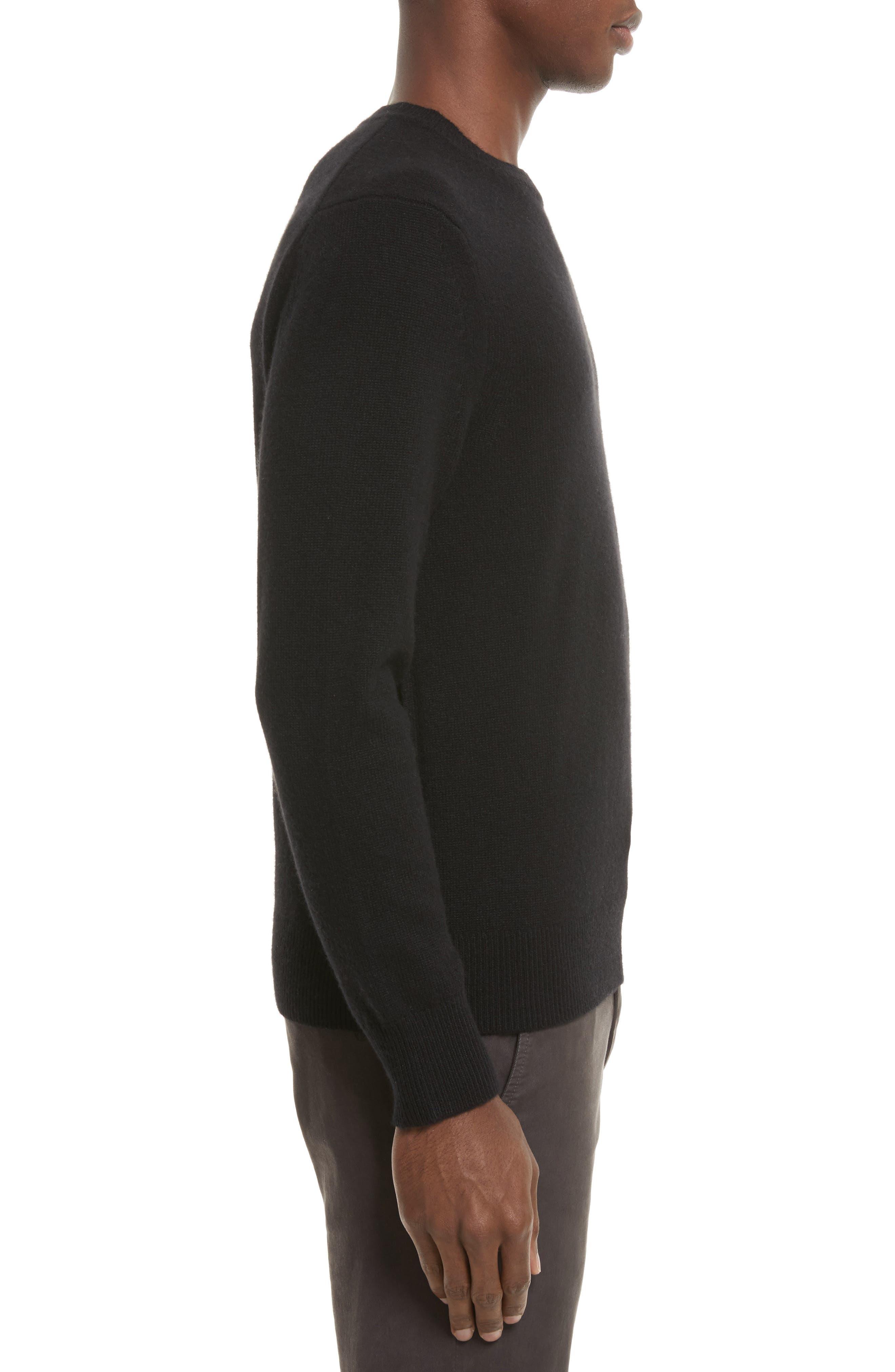 Haldon Cashmere Crewneck Sweatshirt,                             Alternate thumbnail 3, color,                             001