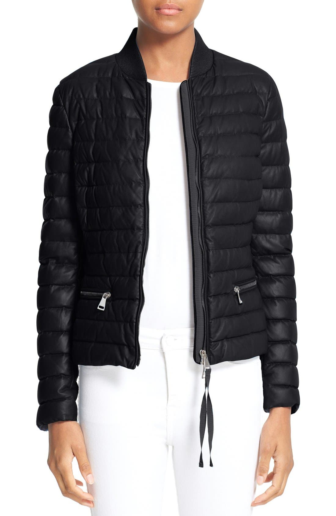 Buglosse Quilted Leather Down Jacket,                             Main thumbnail 1, color,                             BLACK