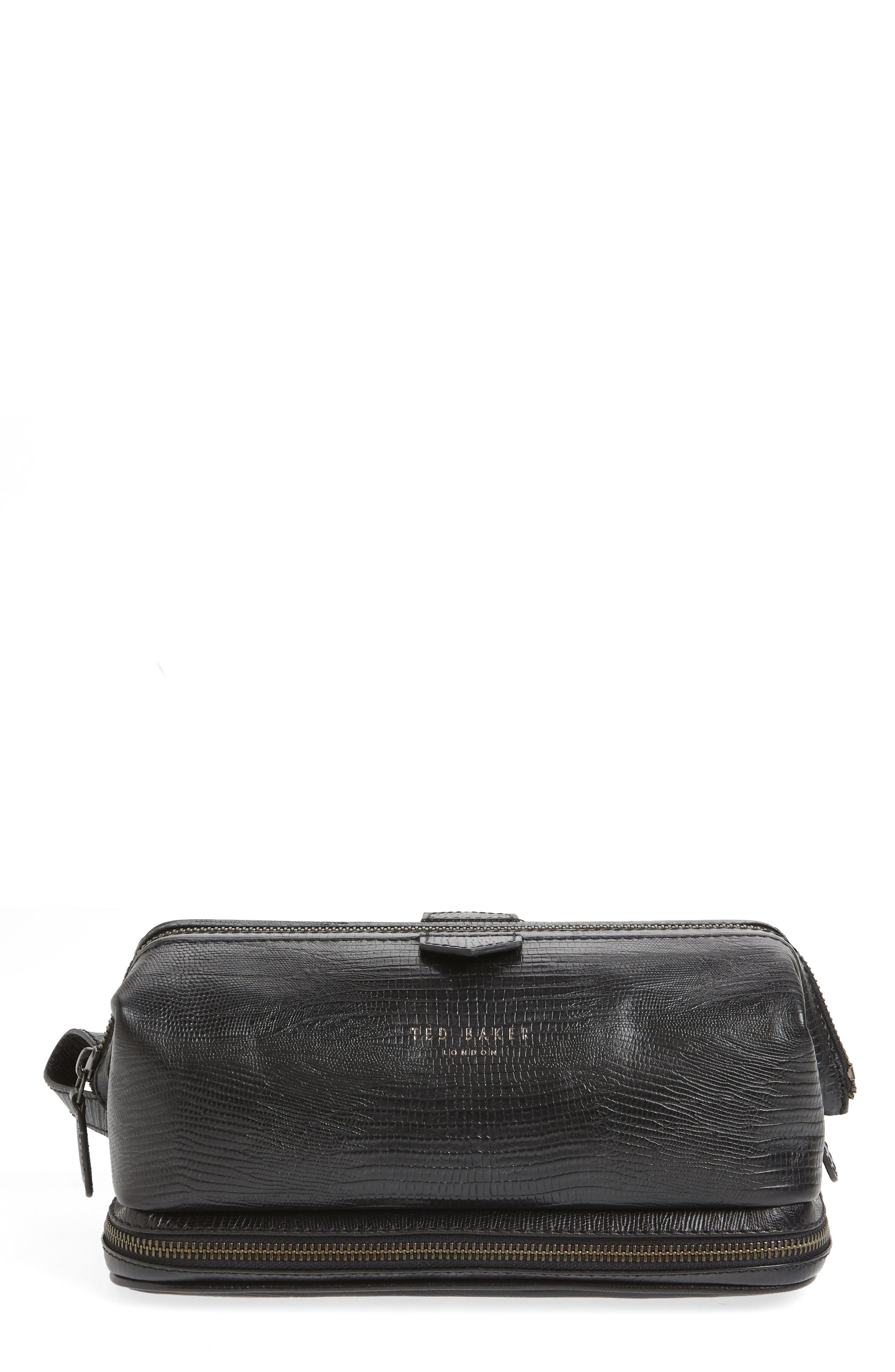 Chocks Leather Dopp Kit,                         Main,                         color, BLACK