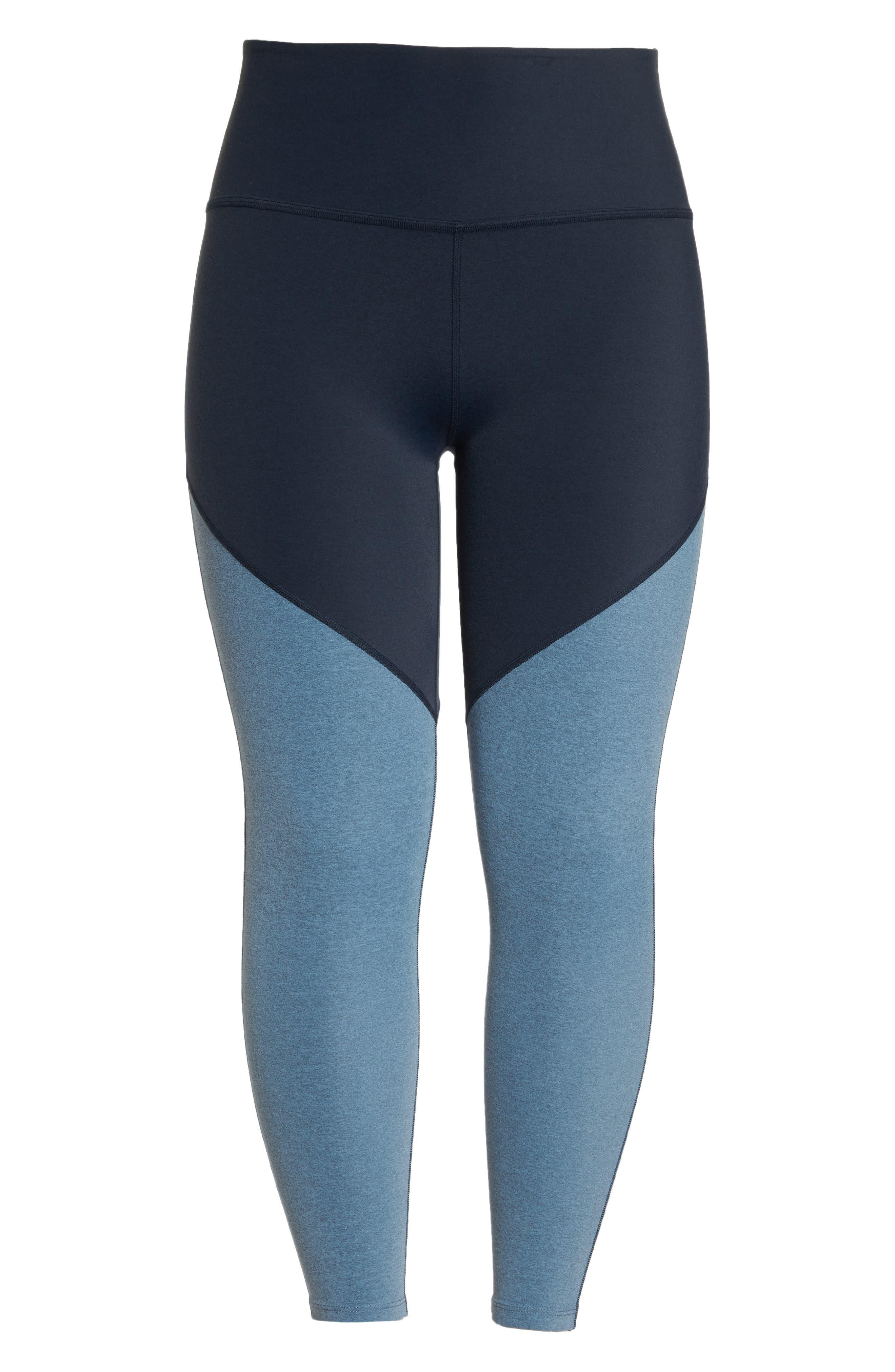 Plush High Waist Midi Leggings,                             Alternate thumbnail 7, color,                             NOCTURNAL NAVY/ LIGHT BLUE