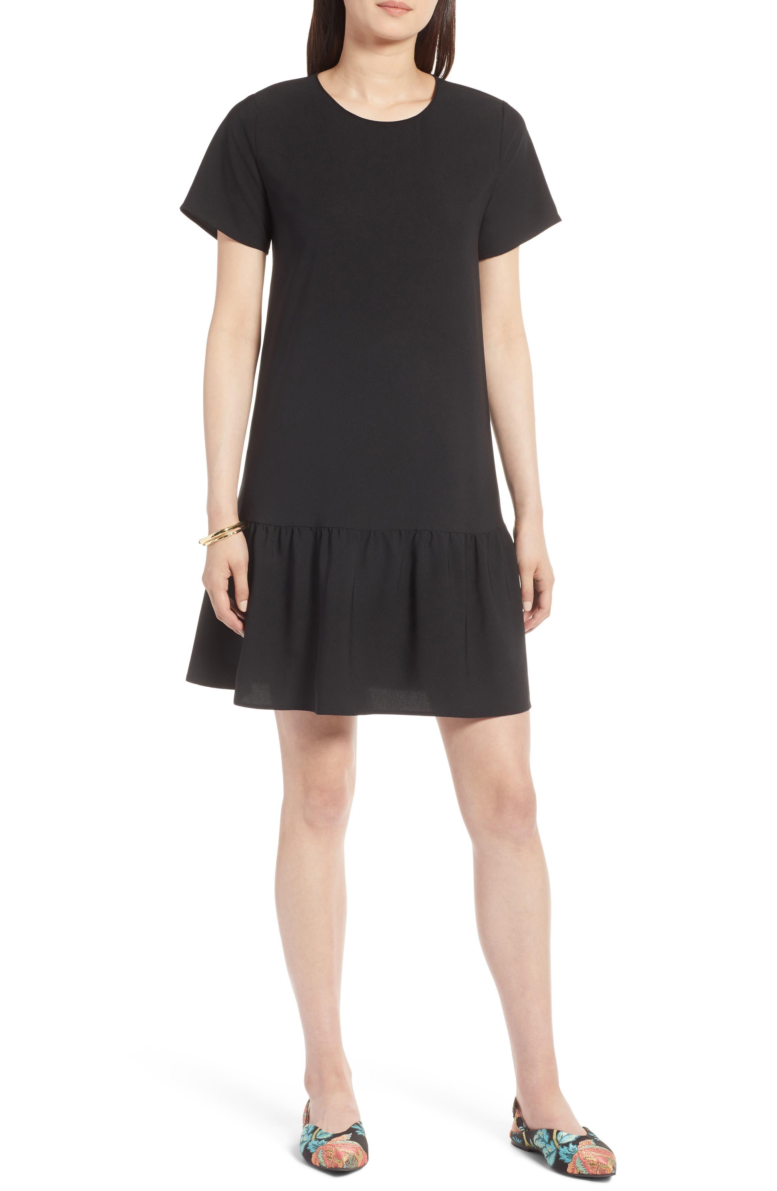 Short Sleeve Ruffle Hem Dress,                             Main thumbnail 1, color,                             001