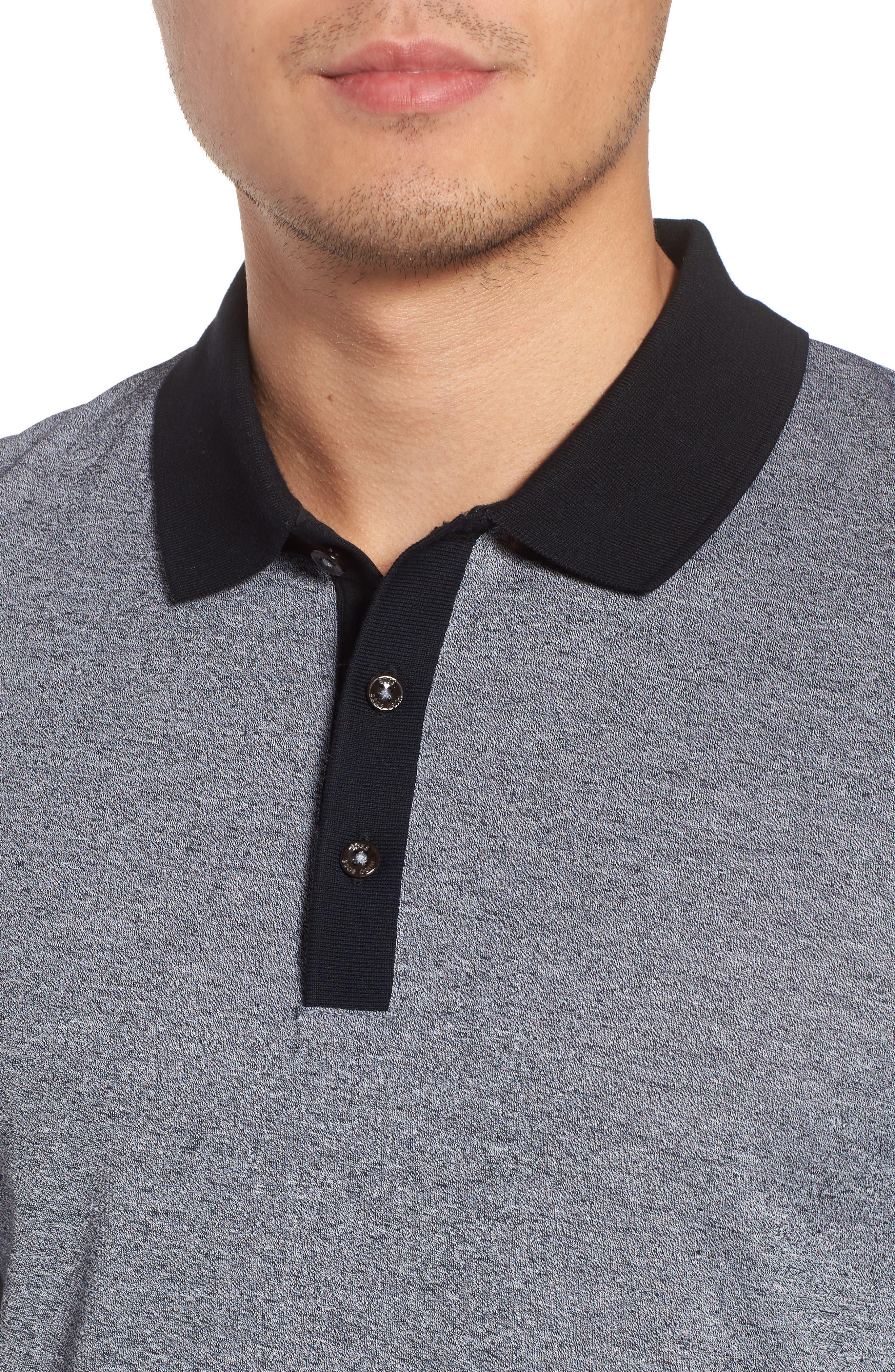 Paschal Mouline Slim Fit Polo Shirt,                             Alternate thumbnail 4, color,                             001