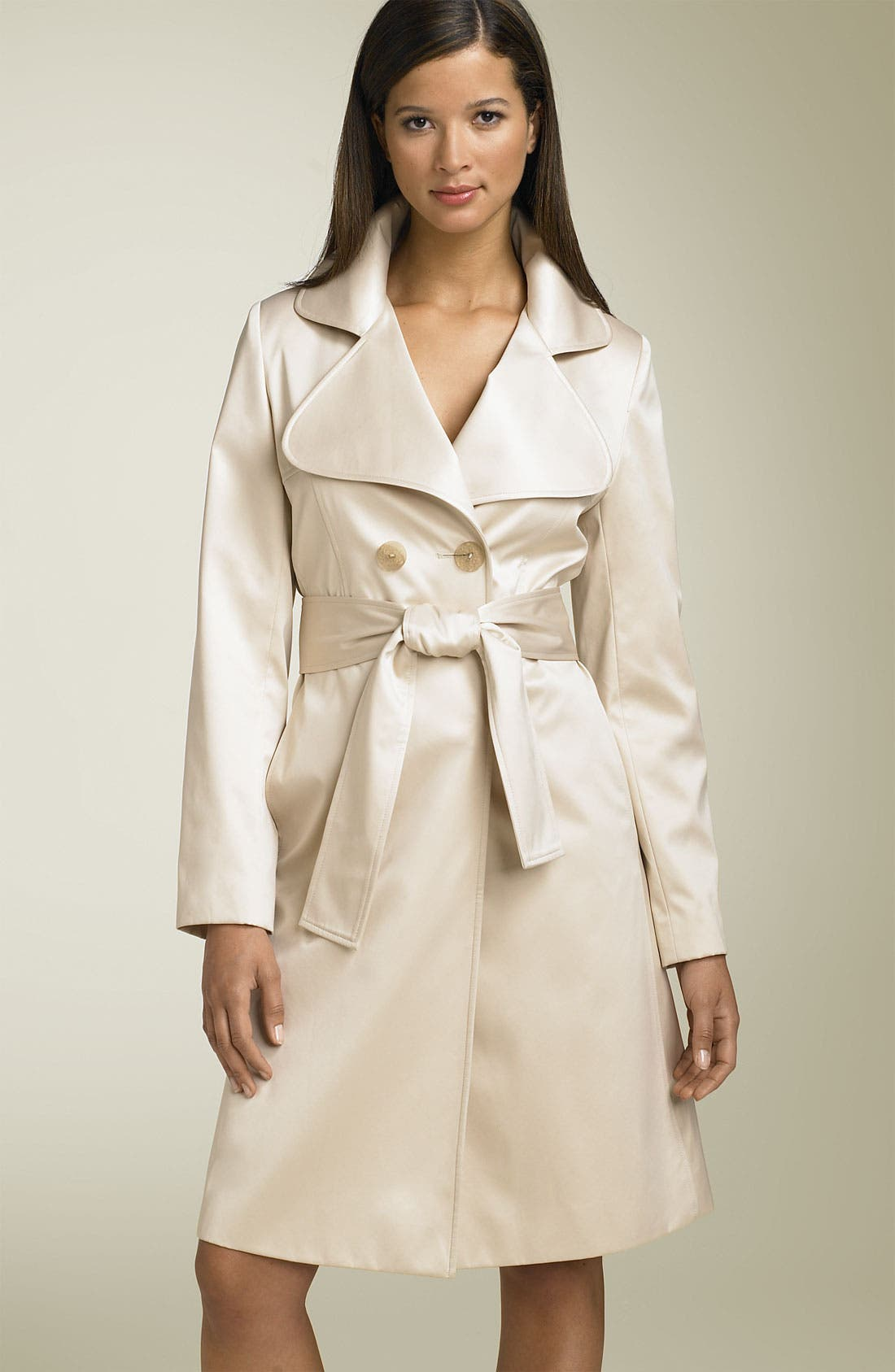'Gia' Belted Satin Trench,                             Main thumbnail 2, color,