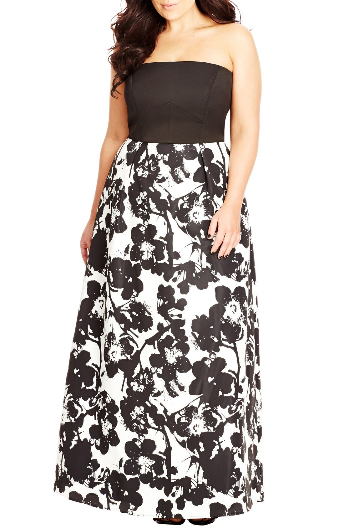 'Painted Poppy' Strapless Maxi Dress,                             Main thumbnail 1, color,                             BLACK