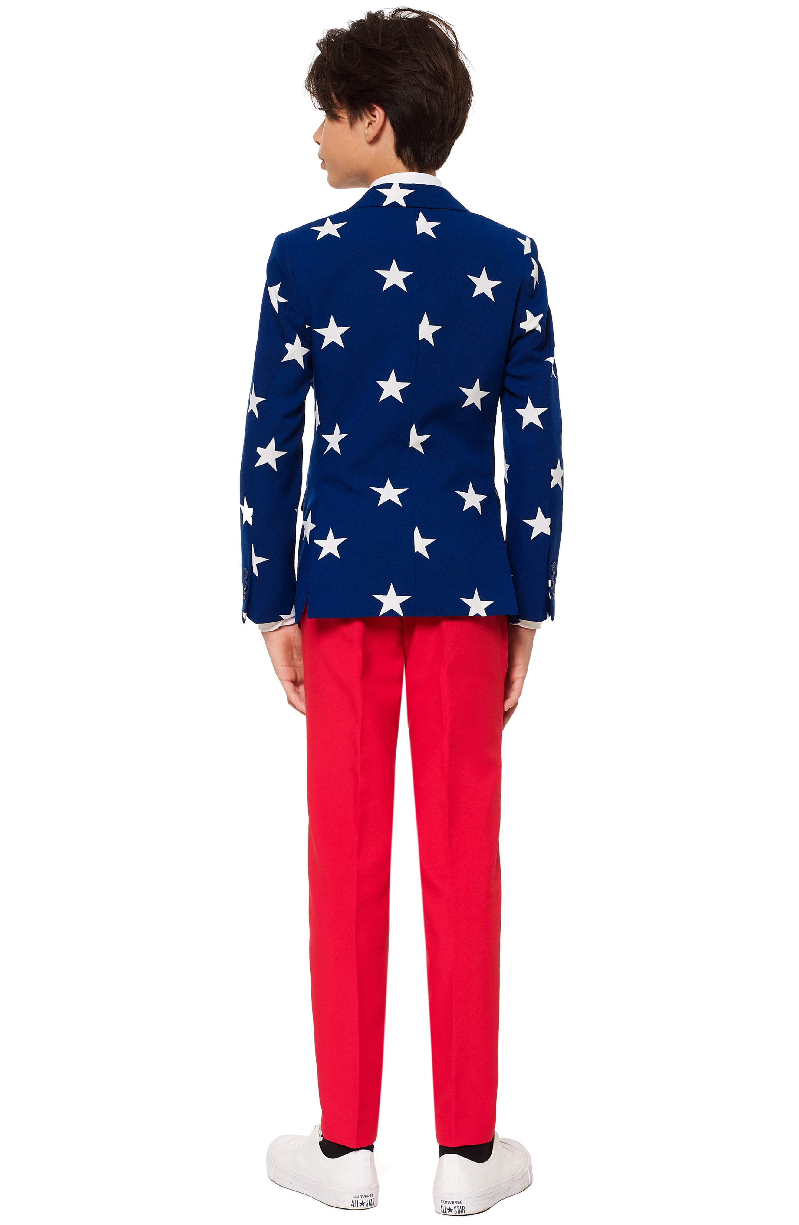 Stars & Stripes Two-Piece Suit with Tie,                             Alternate thumbnail 2, color,                             BLUE/ WHITE