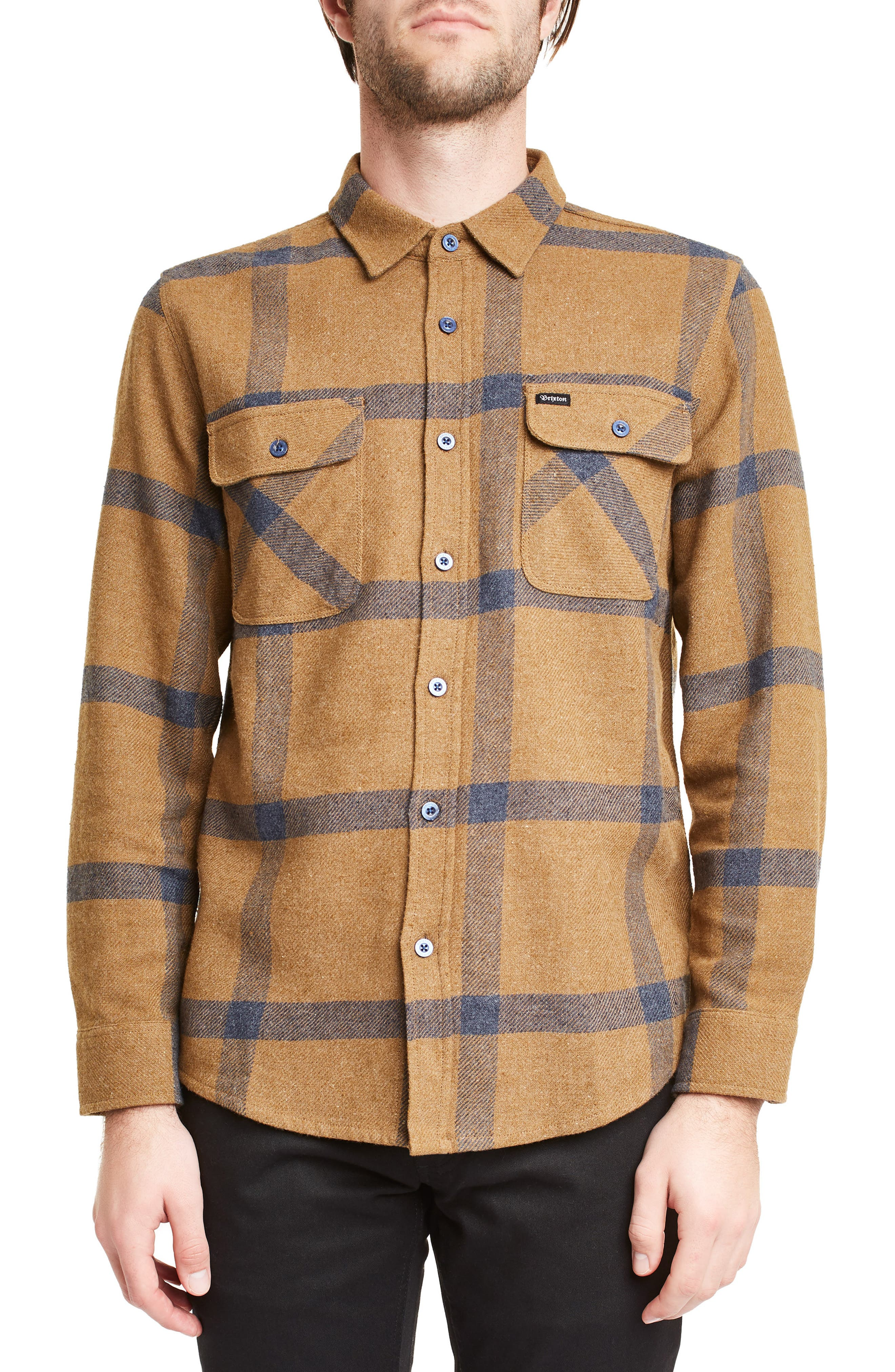Brixton Bowery Plaid Flannel Shirt, Brown