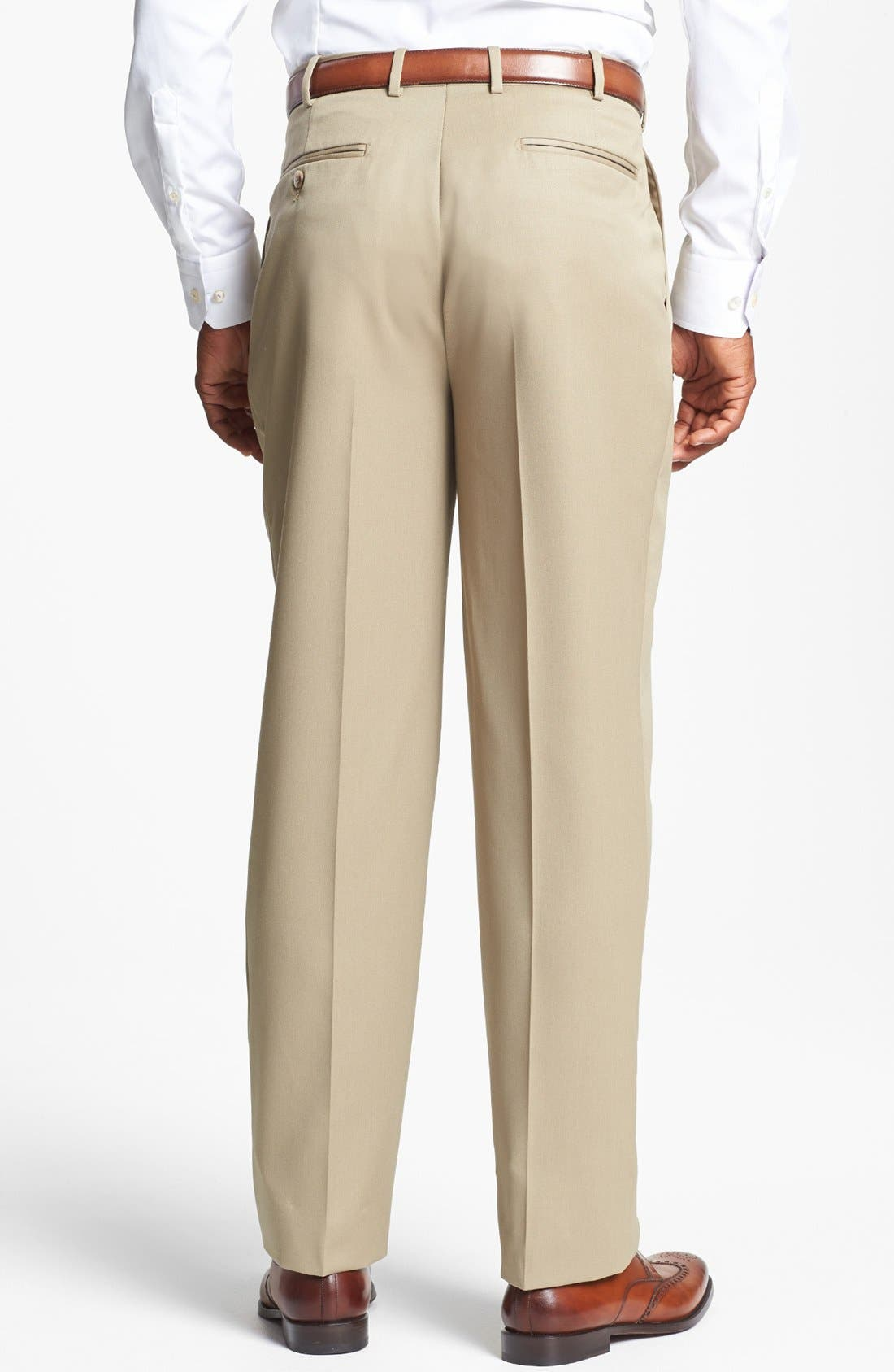 Pleated Super 100s Worsted Wool Trousers,                             Alternate thumbnail 16, color,