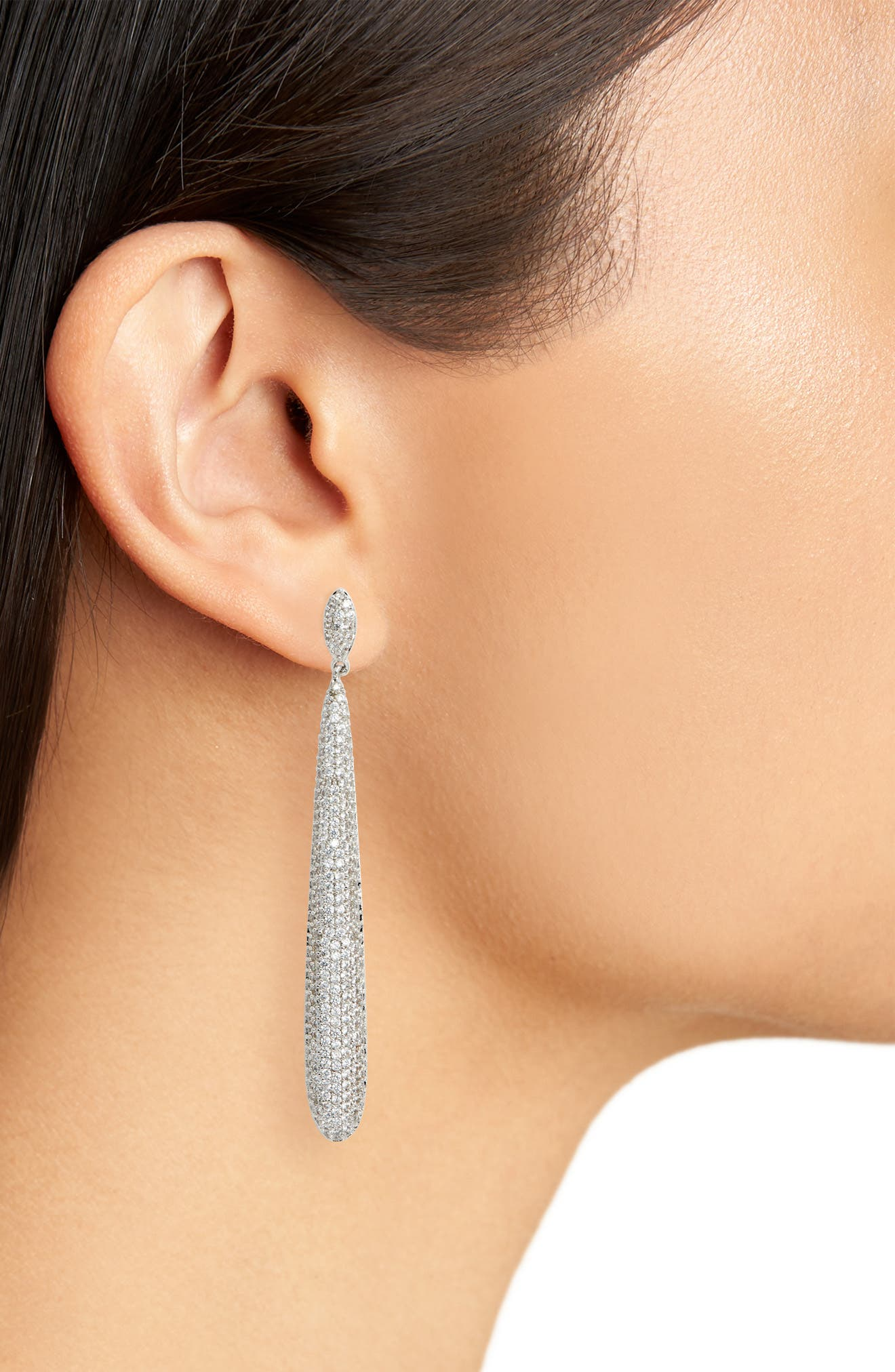 NINA,                             Skinny Teardrop Pavé Earrings,                             Alternate thumbnail 2, color,                             WHITE/ SILVER