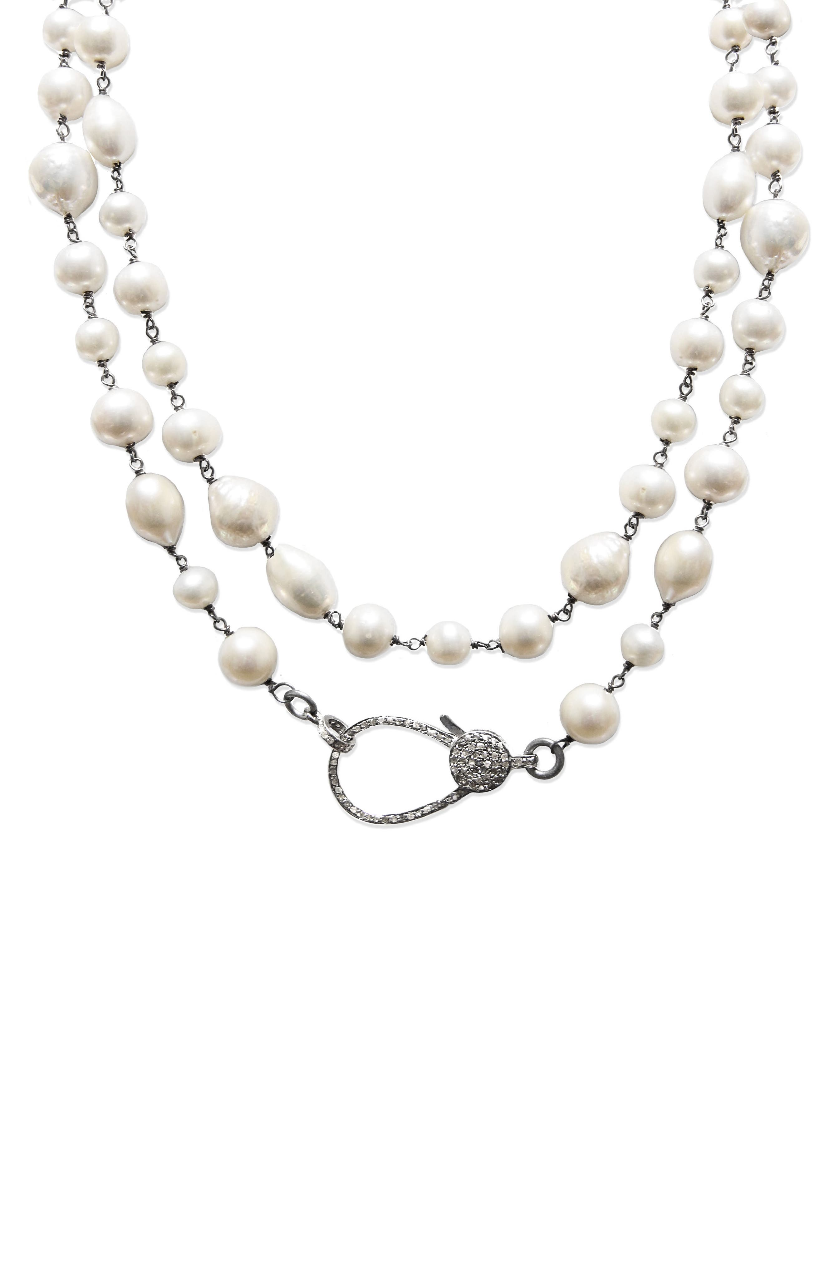 Jane Basch Long Pearl & Diamond Necklace,                             Main thumbnail 1, color,                             PEARL/ SILVER