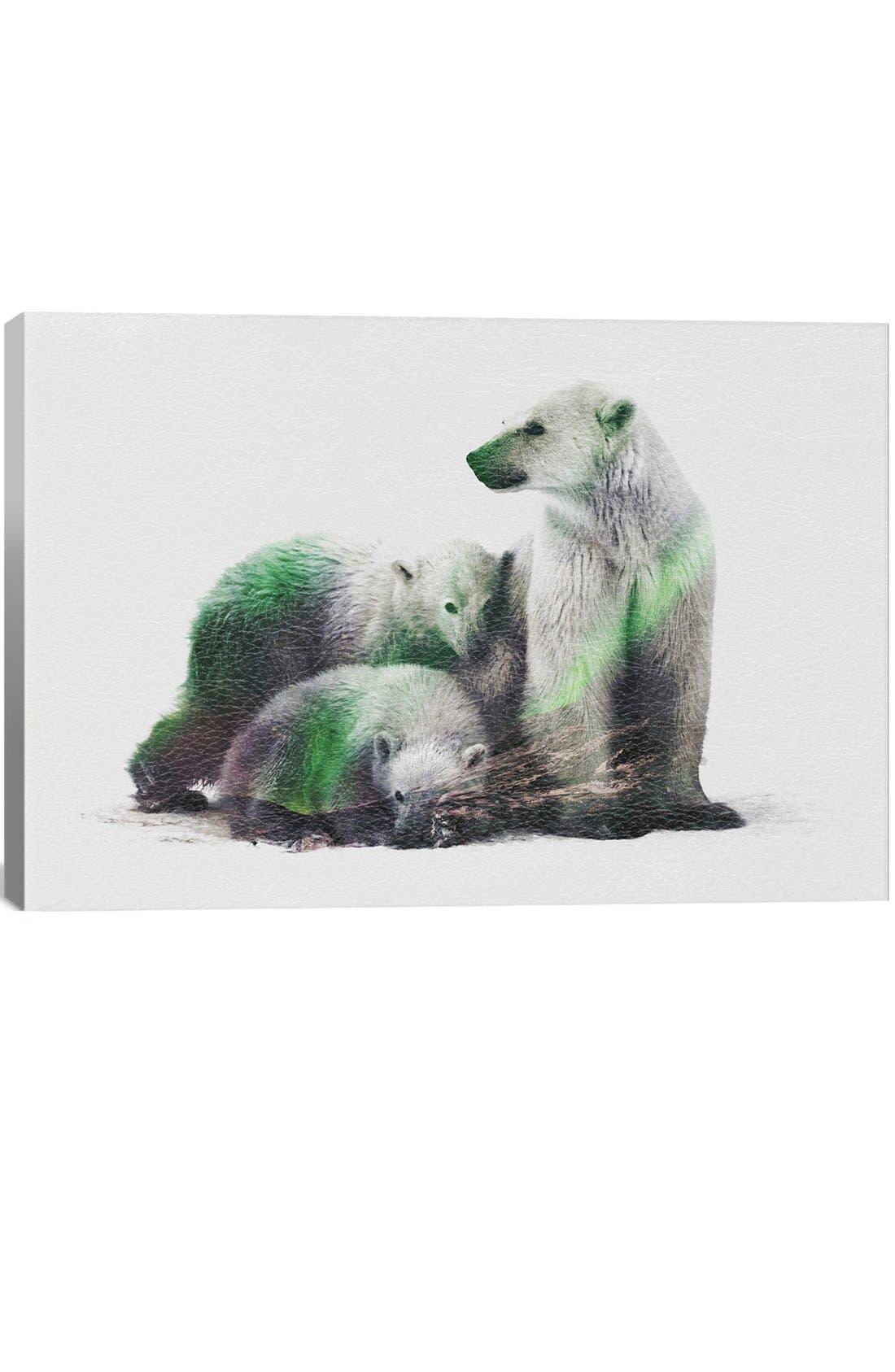 'Polar Bear Family' Leather Art Print,                             Main thumbnail 1, color,                             GREY