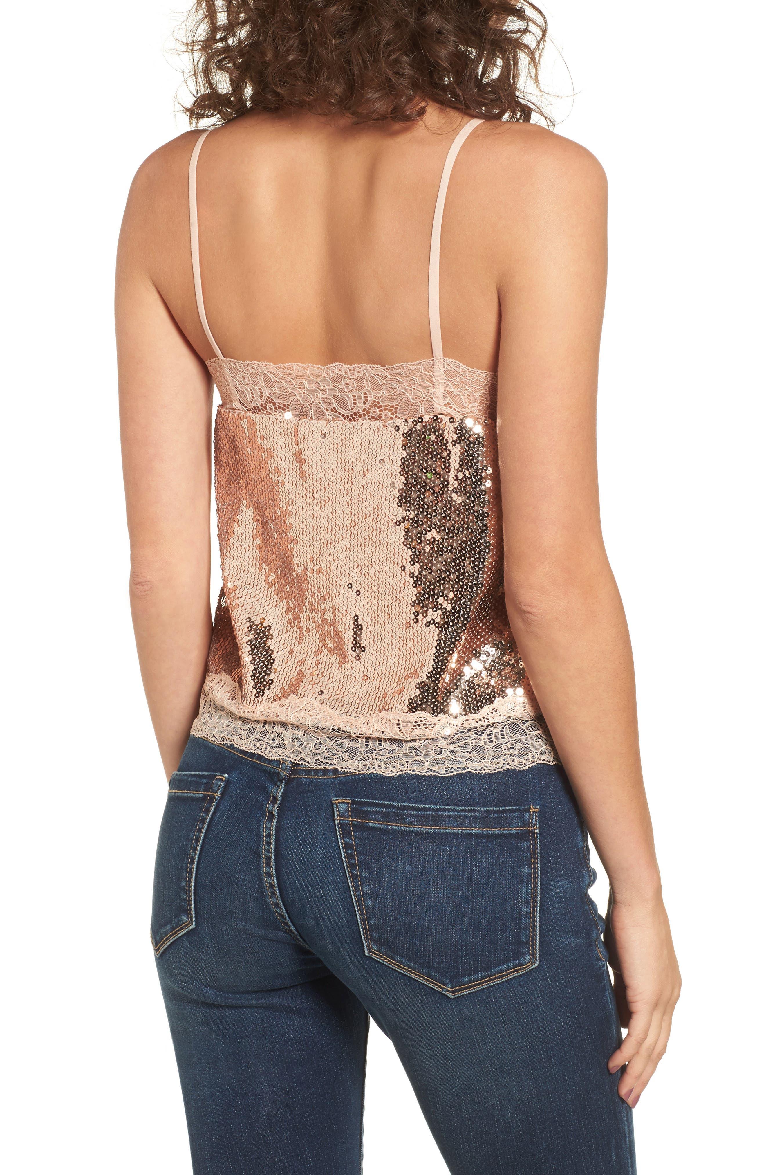 Lace Trim Sequin Camisole Top,                             Alternate thumbnail 2, color,