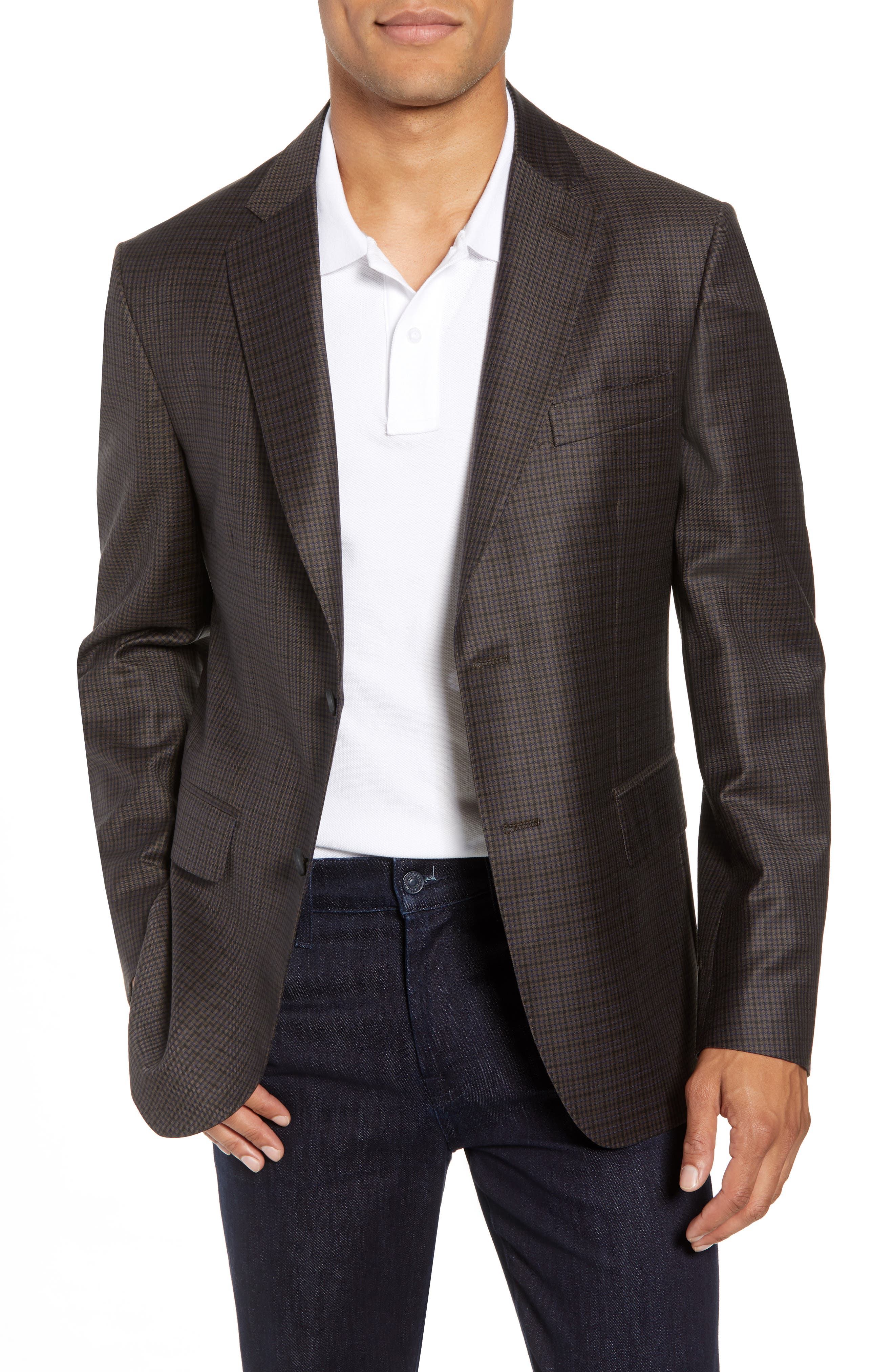 Traditional Fit Check Wool Sport Coat,                         Main,                         color, BROWN