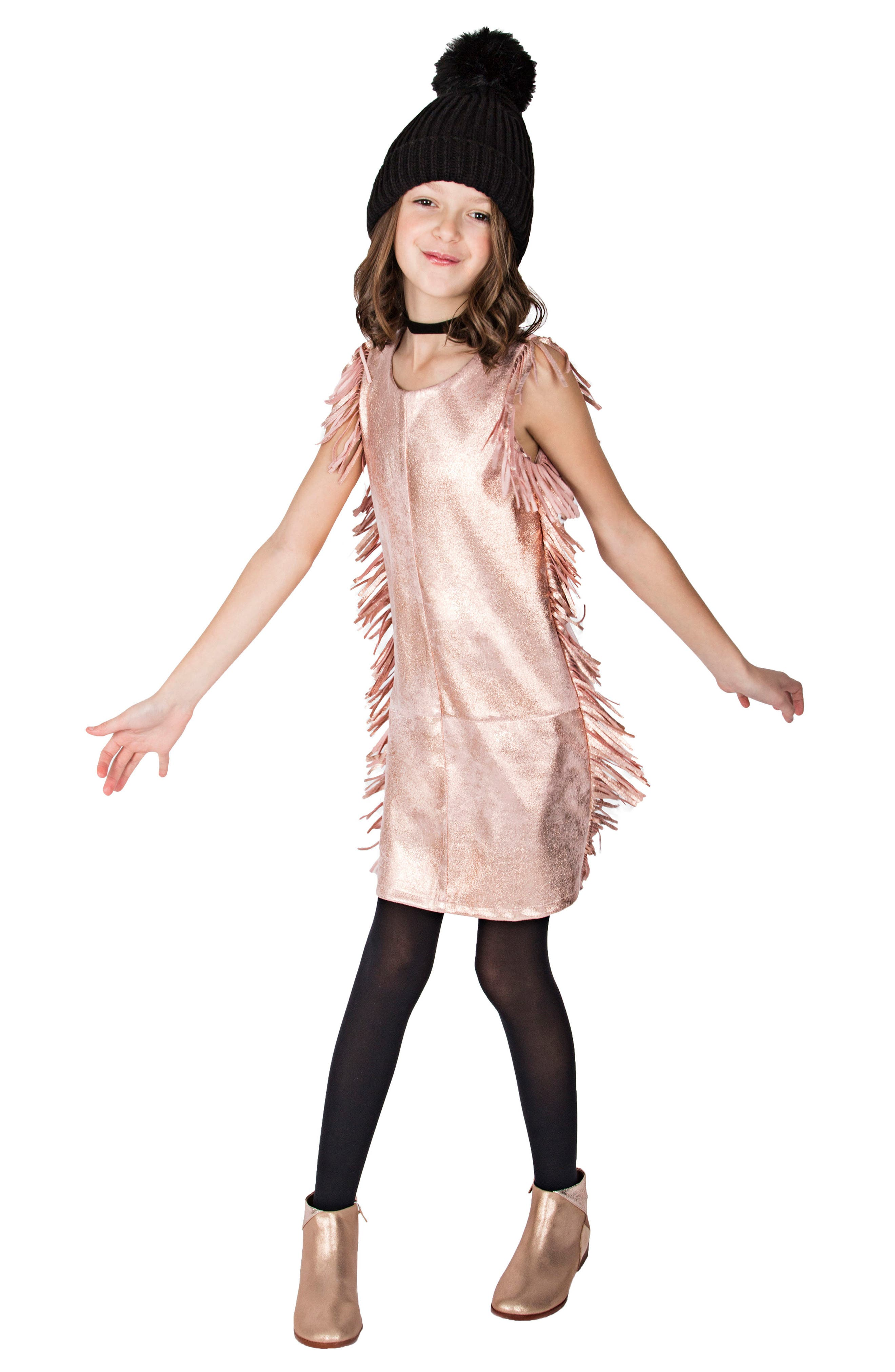 Metallic Fringe Dress,                             Alternate thumbnail 3, color,                             650
