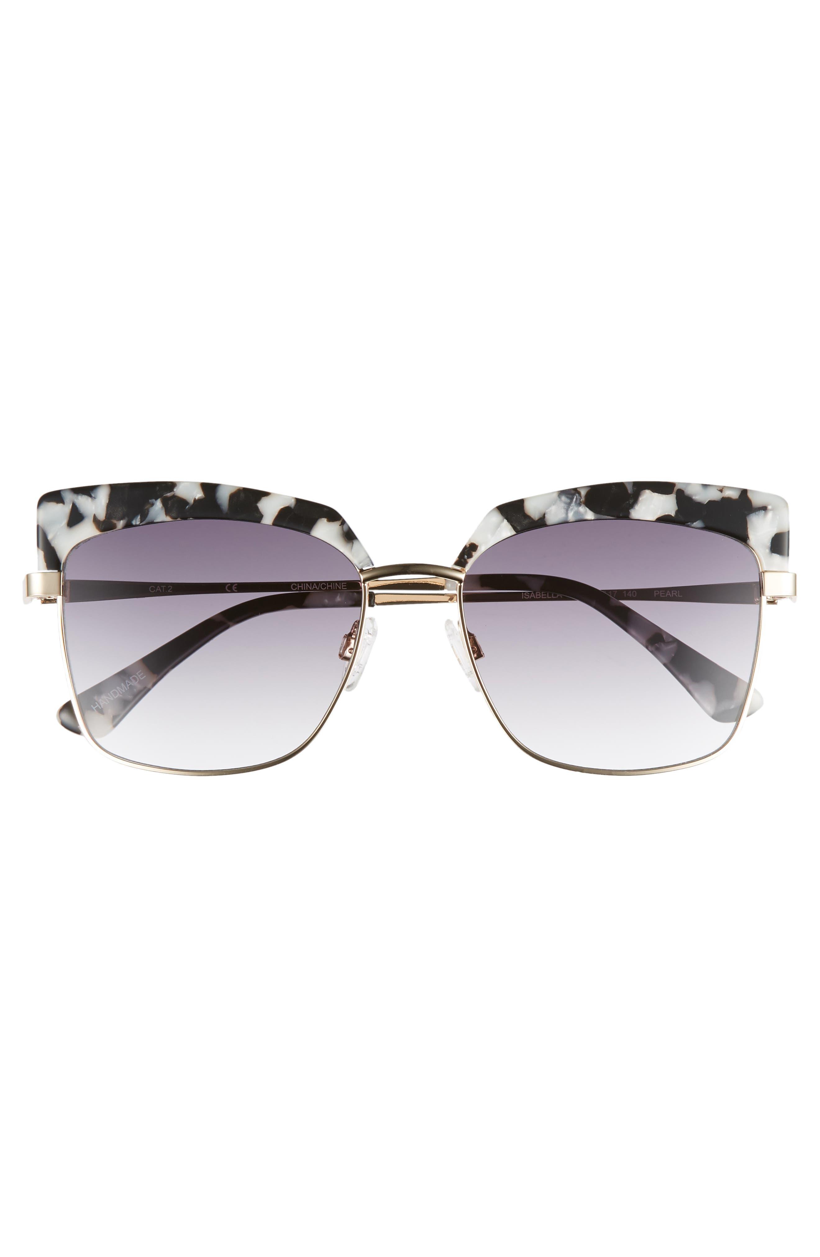 Isabella 56mm Cat Eye Sunglasses,                             Alternate thumbnail 3, color,                             BLACK MARBLE
