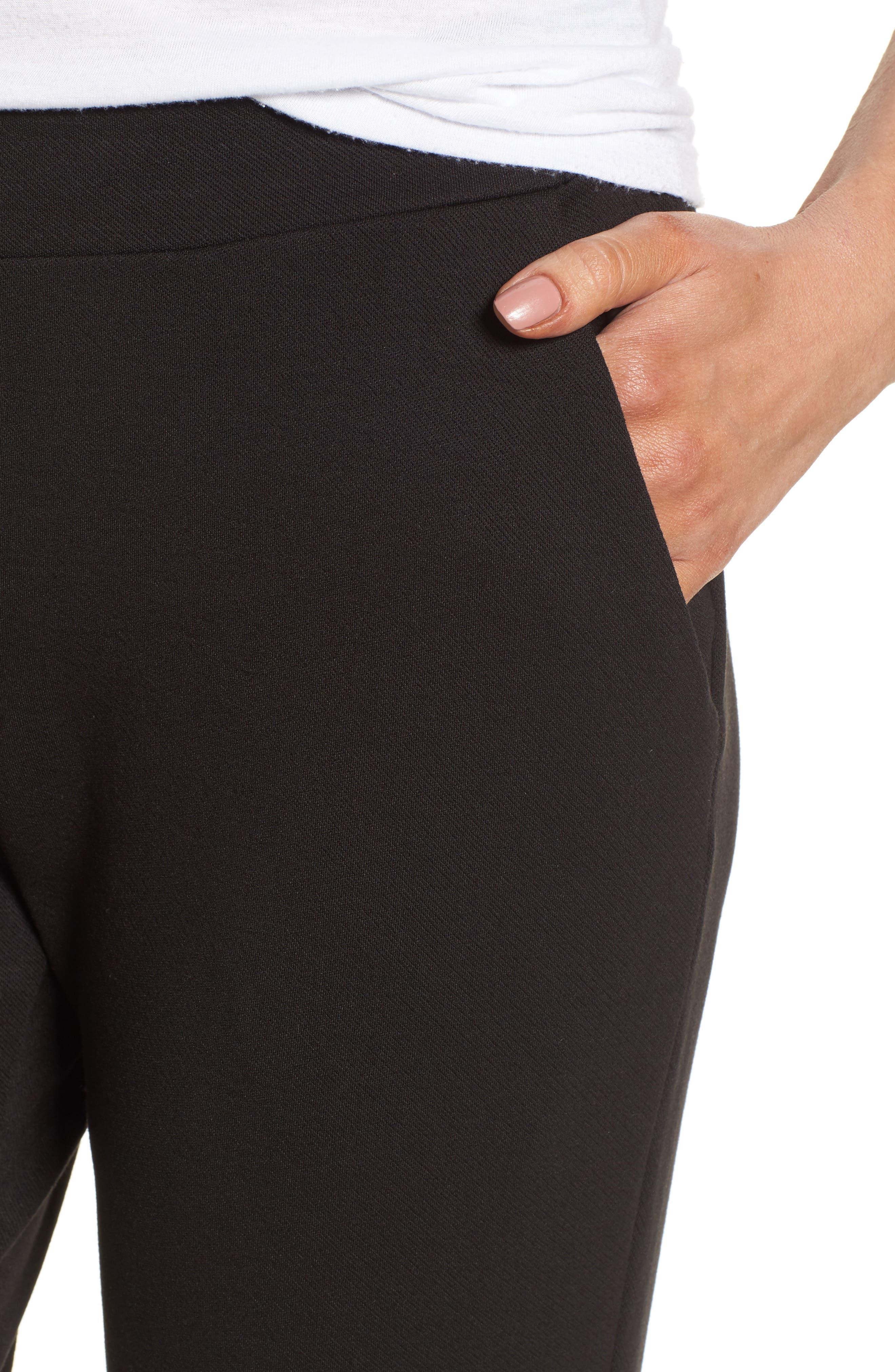 Brighton Crop Knit Cigarette Pants,                             Alternate thumbnail 4, color,                             BLACK