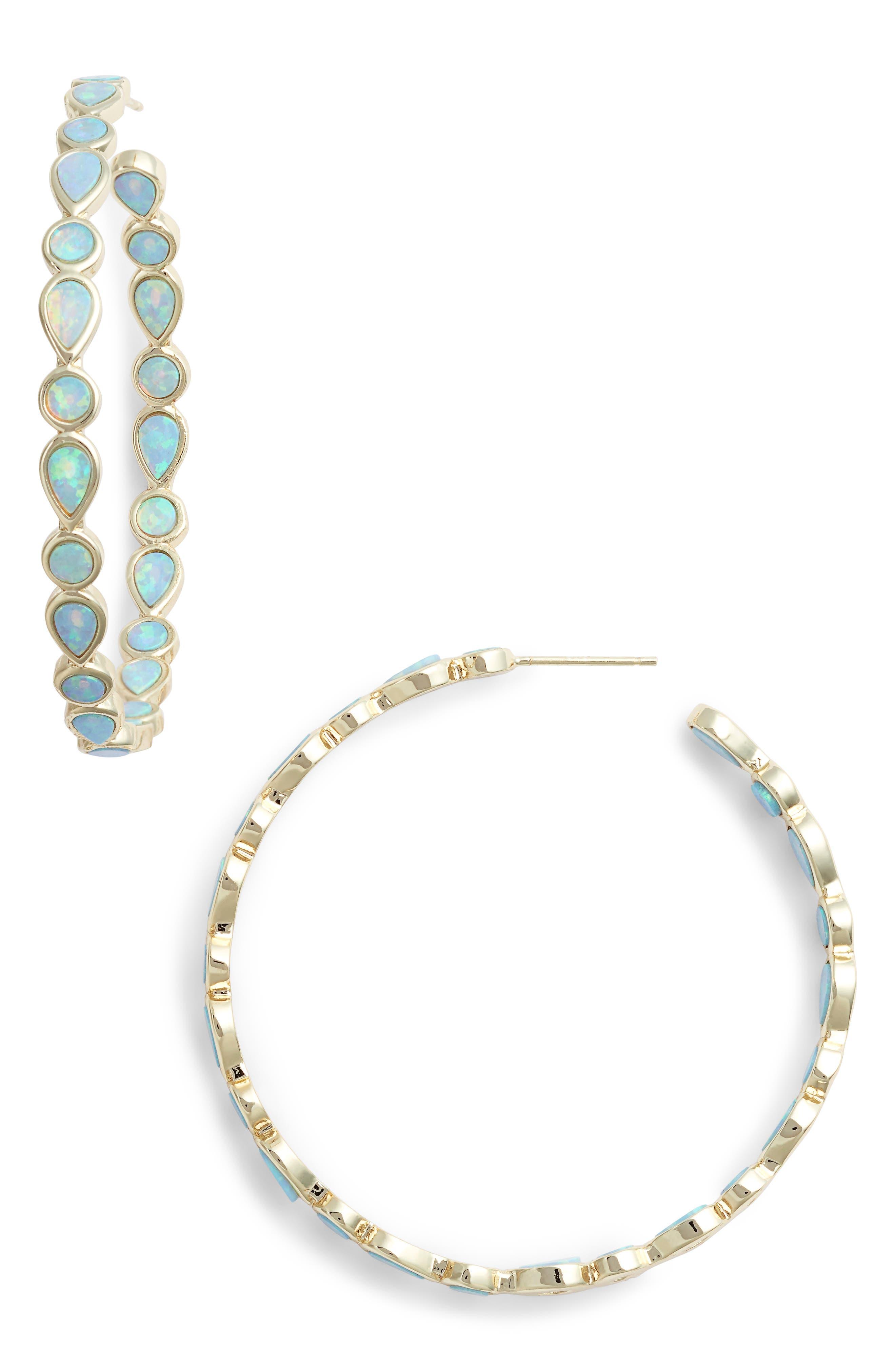 MELINDA MARIA,                             Isla Opal Hoop Earrings,                             Main thumbnail 1, color,                             400