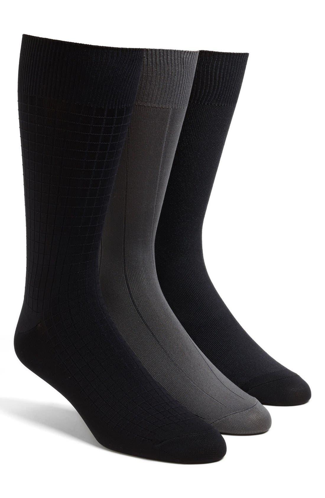 3-Pack Microfiber Socks,                         Main,                         color, GREY