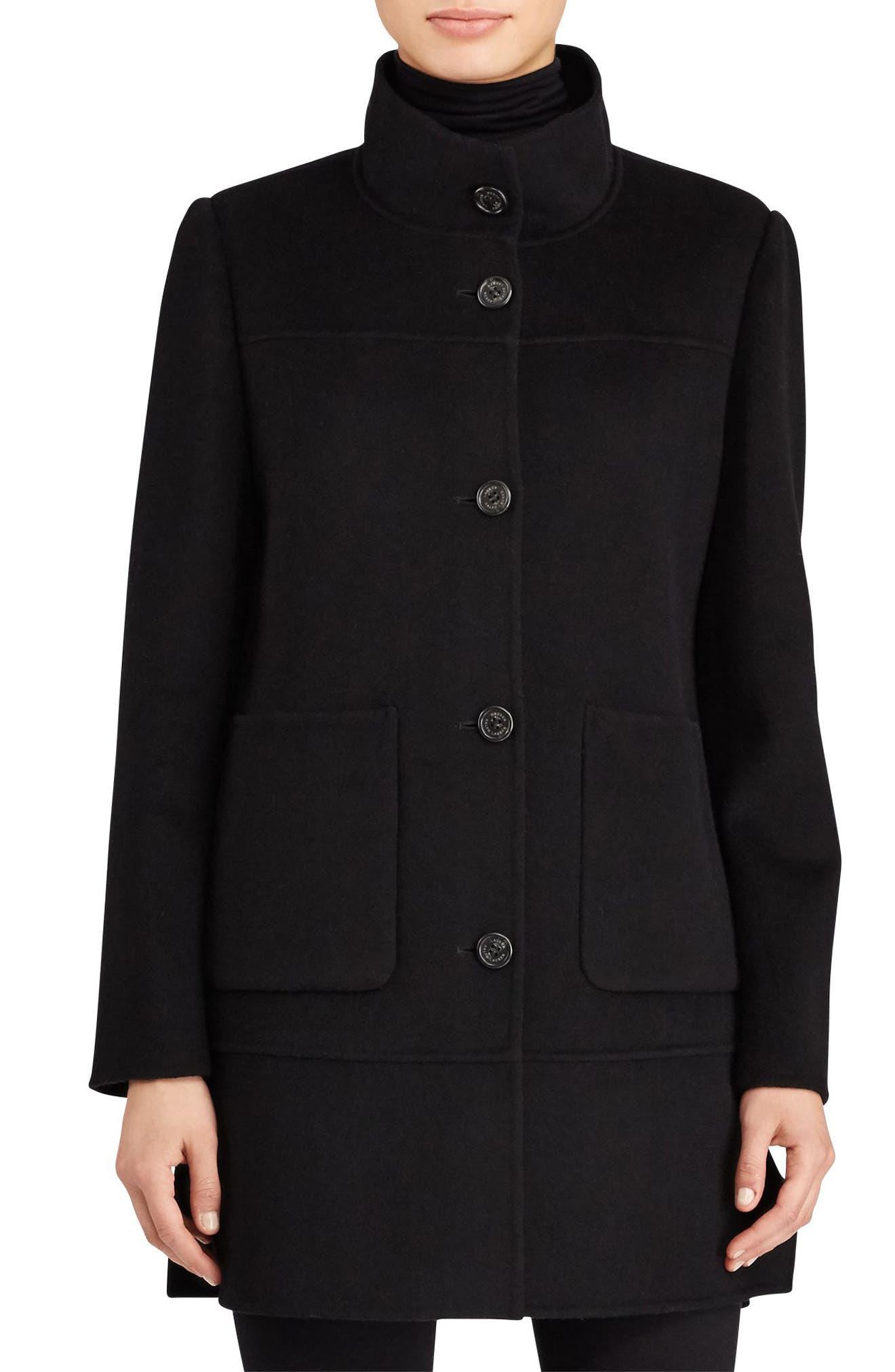 Double Face Wool Blend Coat,                             Main thumbnail 1, color,                             001