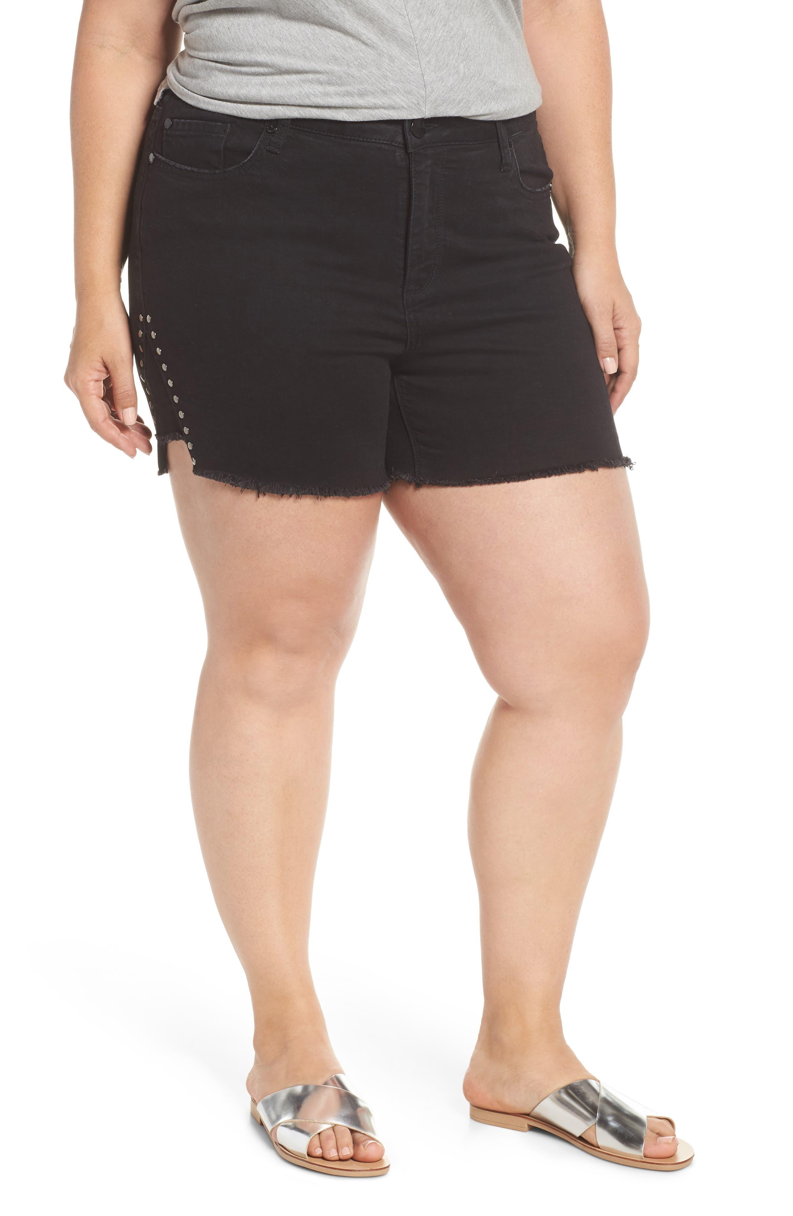 SEVEN7 High Rise Stud Detail Denim Shorts, Main, color, CYCLONE