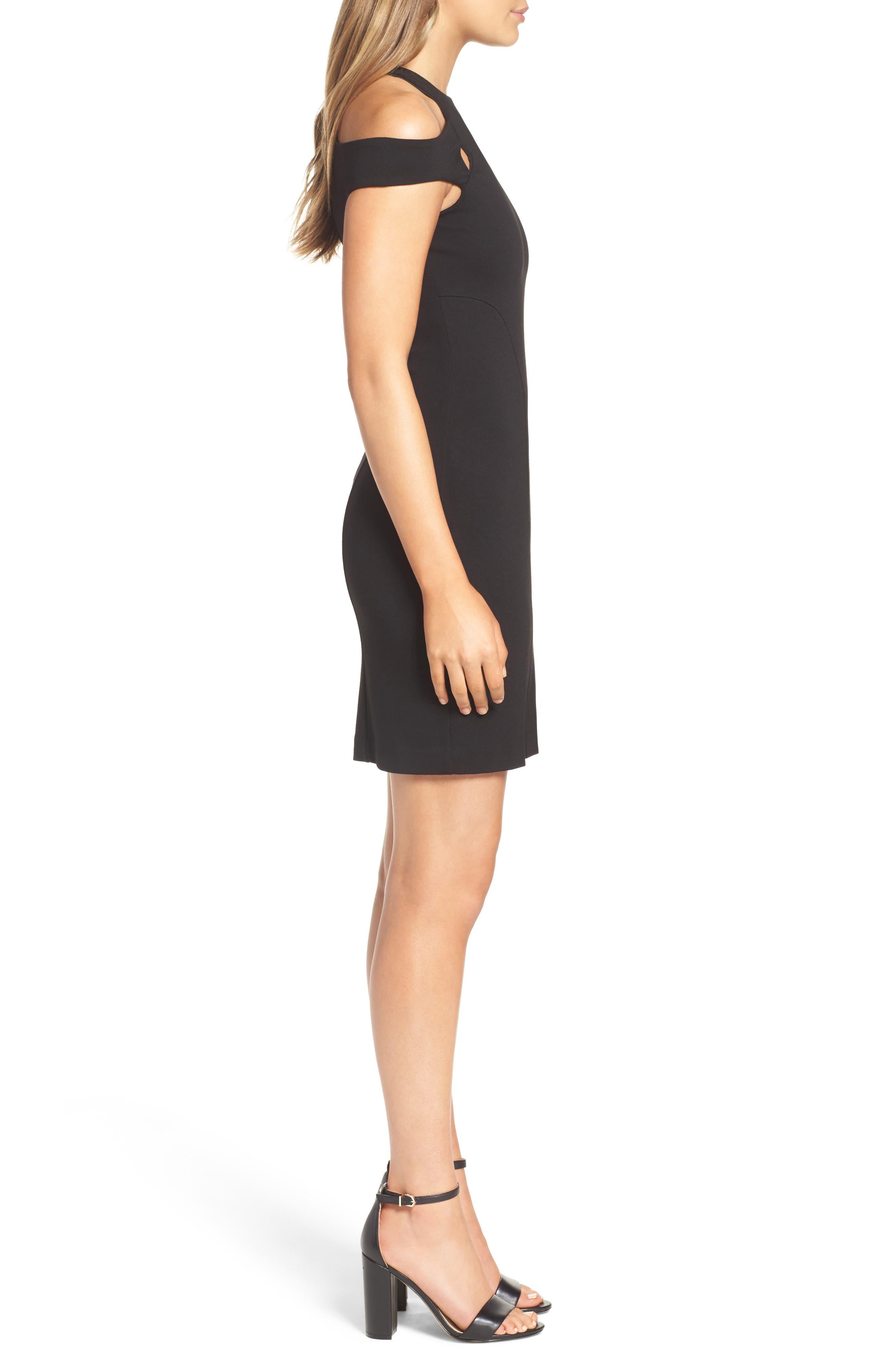 Muy Caliente Cold Shoulder Body-Con Dress,                             Alternate thumbnail 3, color,                             001