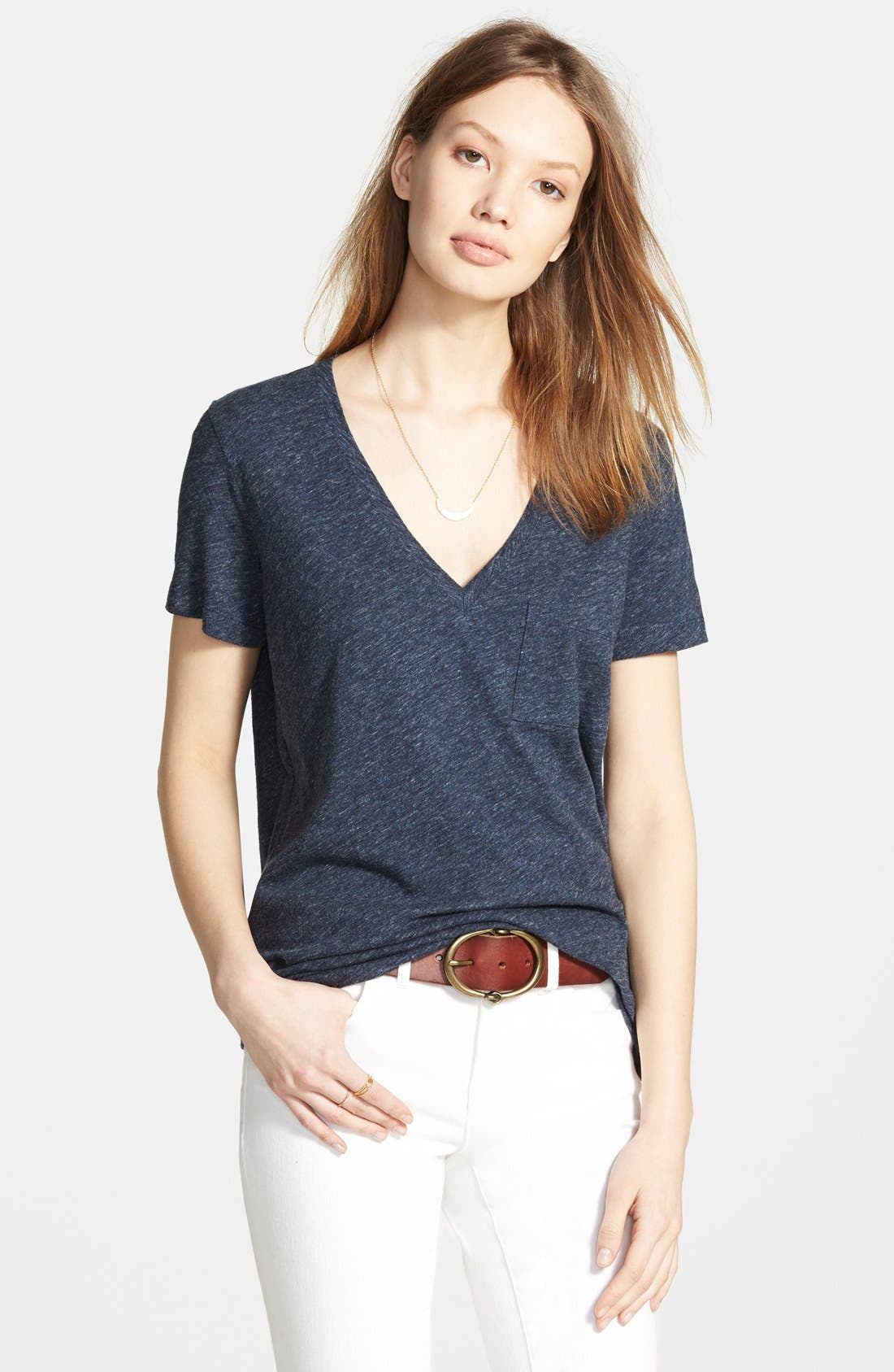 Whisper Cotton V-Neck Pocket Tee,                             Main thumbnail 3, color,
