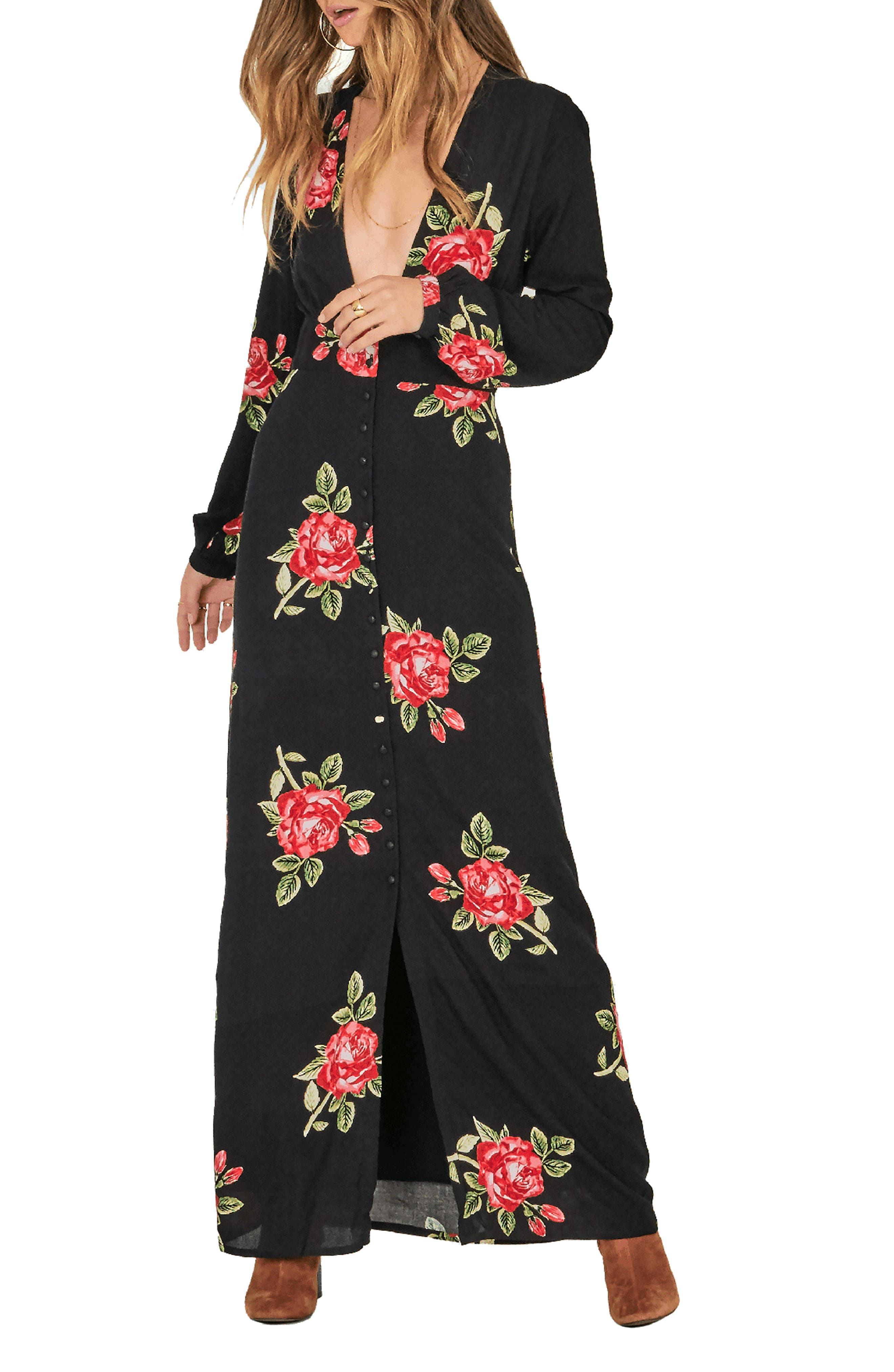Amuse Society All Buttoned Up Floral Print Maxi Dress