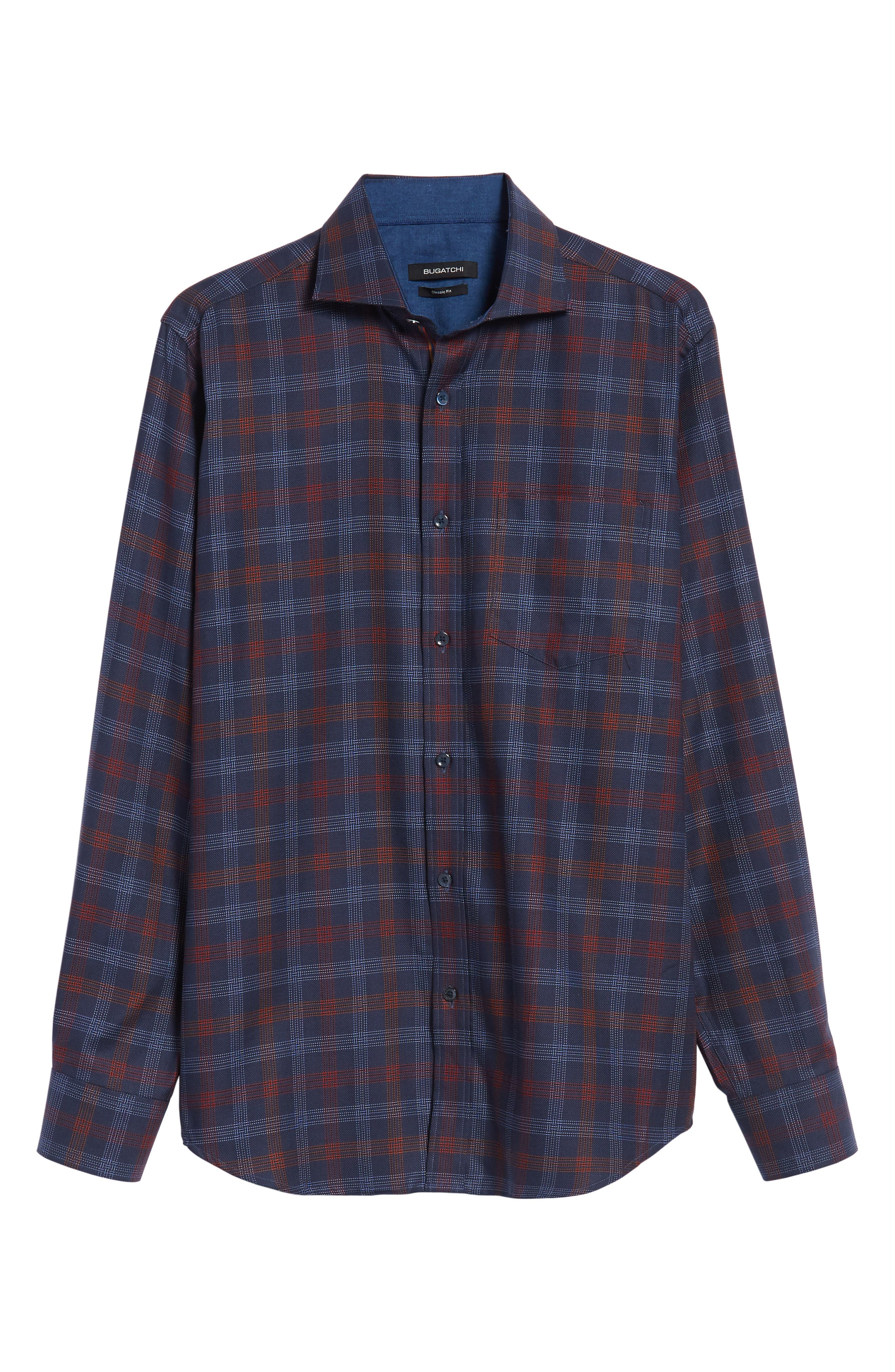 Classic Fit Pinstripe Check Sport Shirt,                             Alternate thumbnail 6, color,