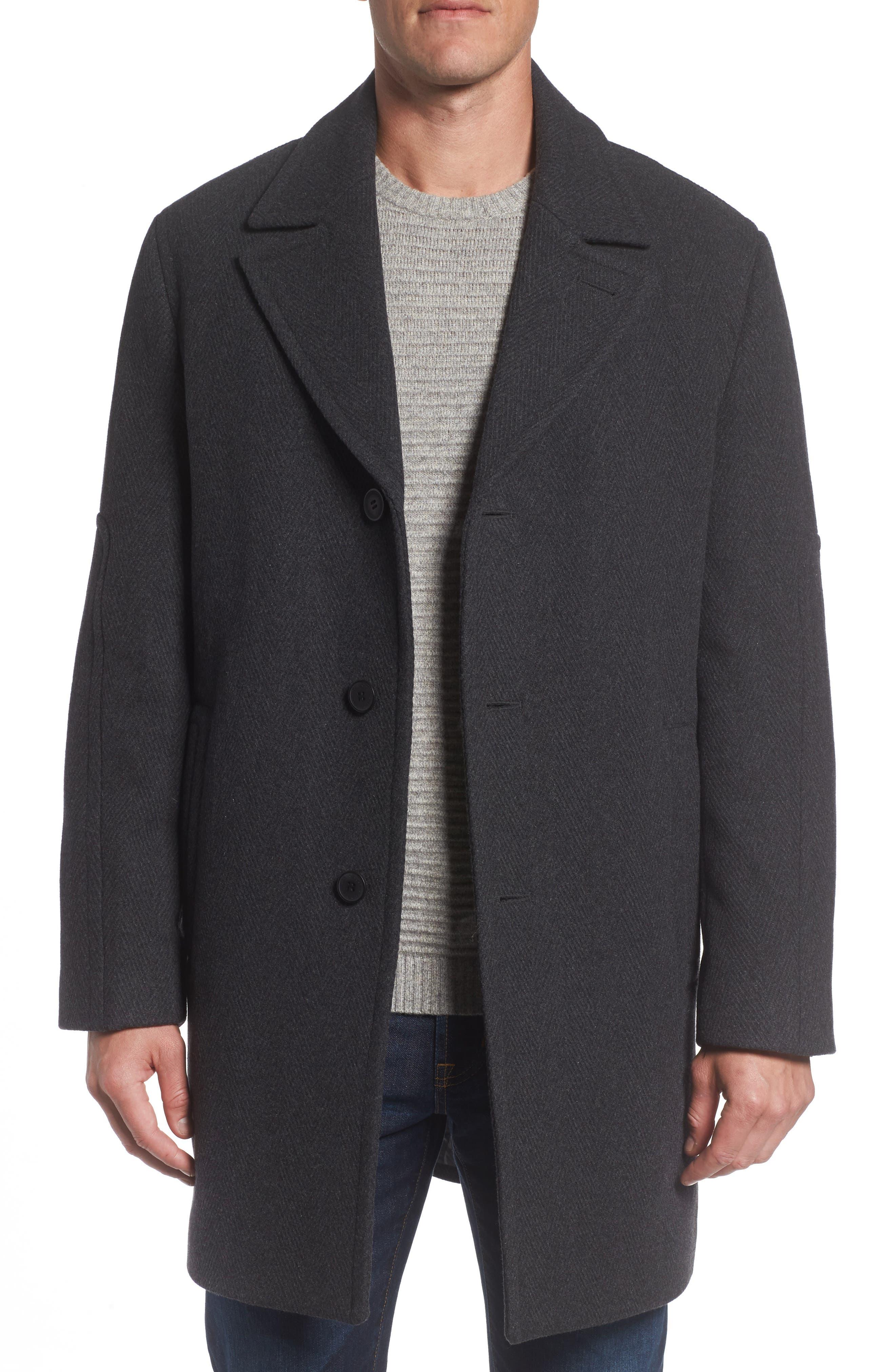 Herringbone Wool Blend Car Coat,                             Main thumbnail 1, color,
