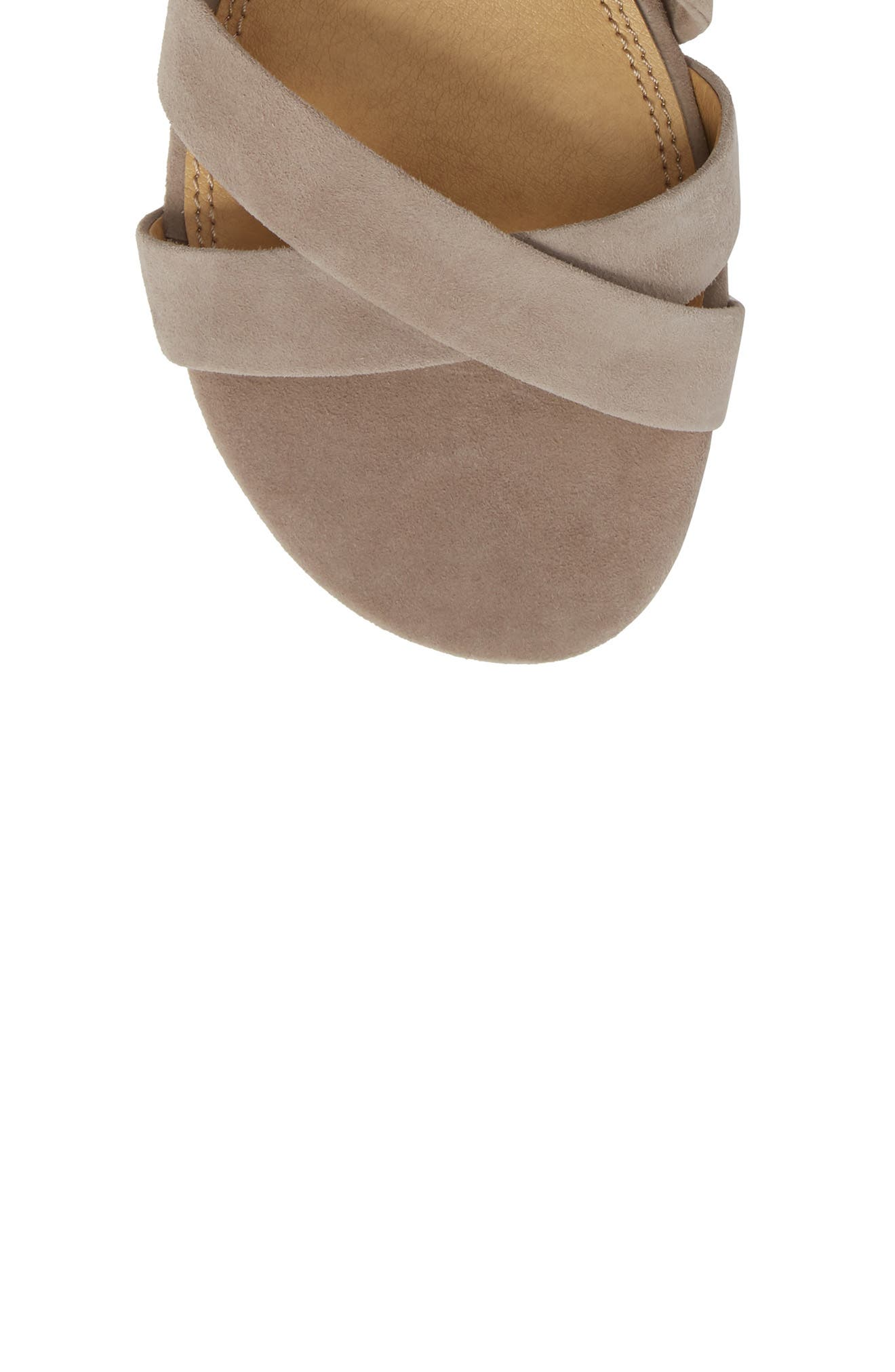 Feodora Ankle Wrap Sandal,                             Alternate thumbnail 5, color,                             TAUPE SUEDE