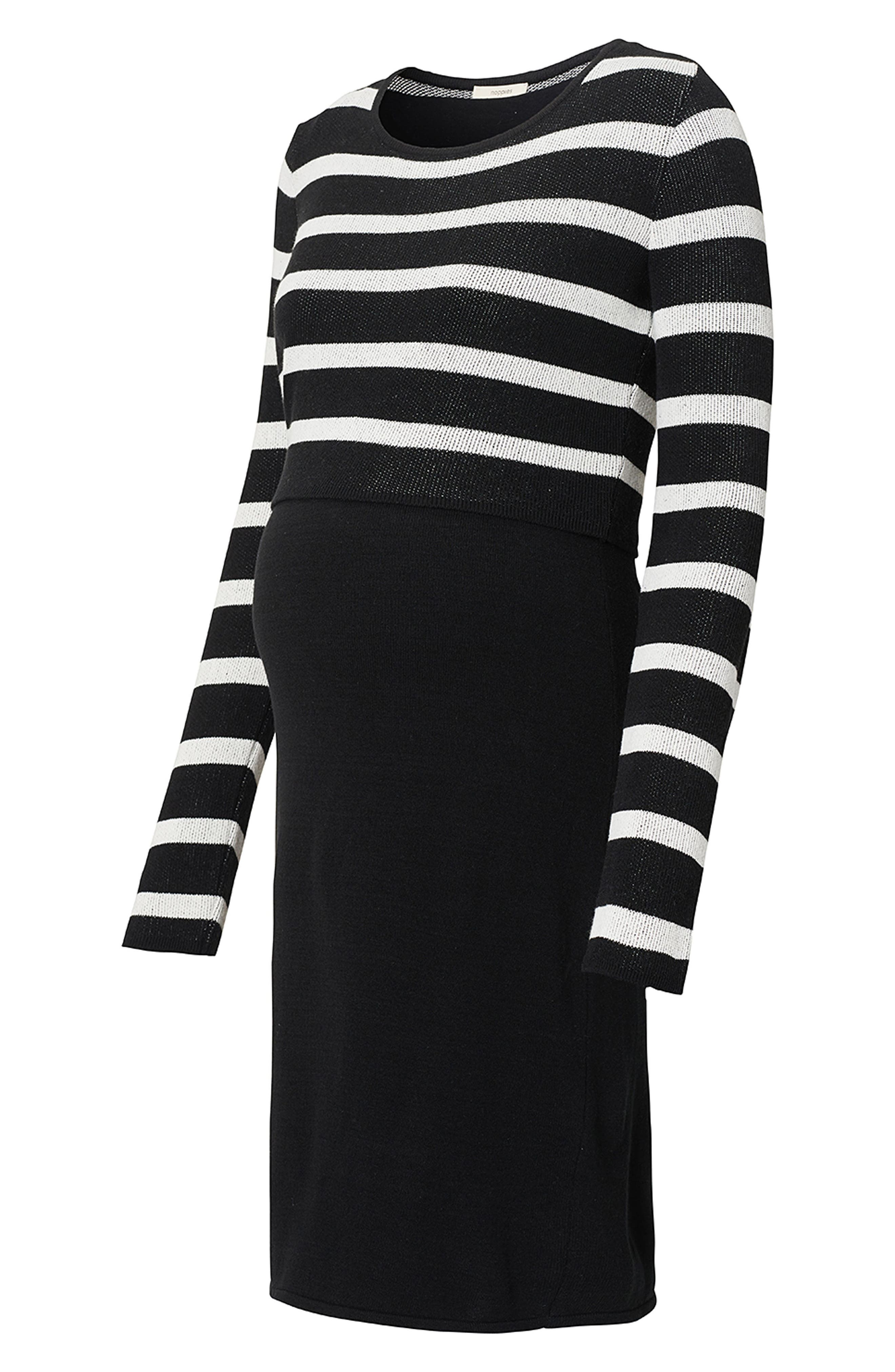 Imara Nursing/Maternity Dress,                             Alternate thumbnail 3, color,                             BLACK