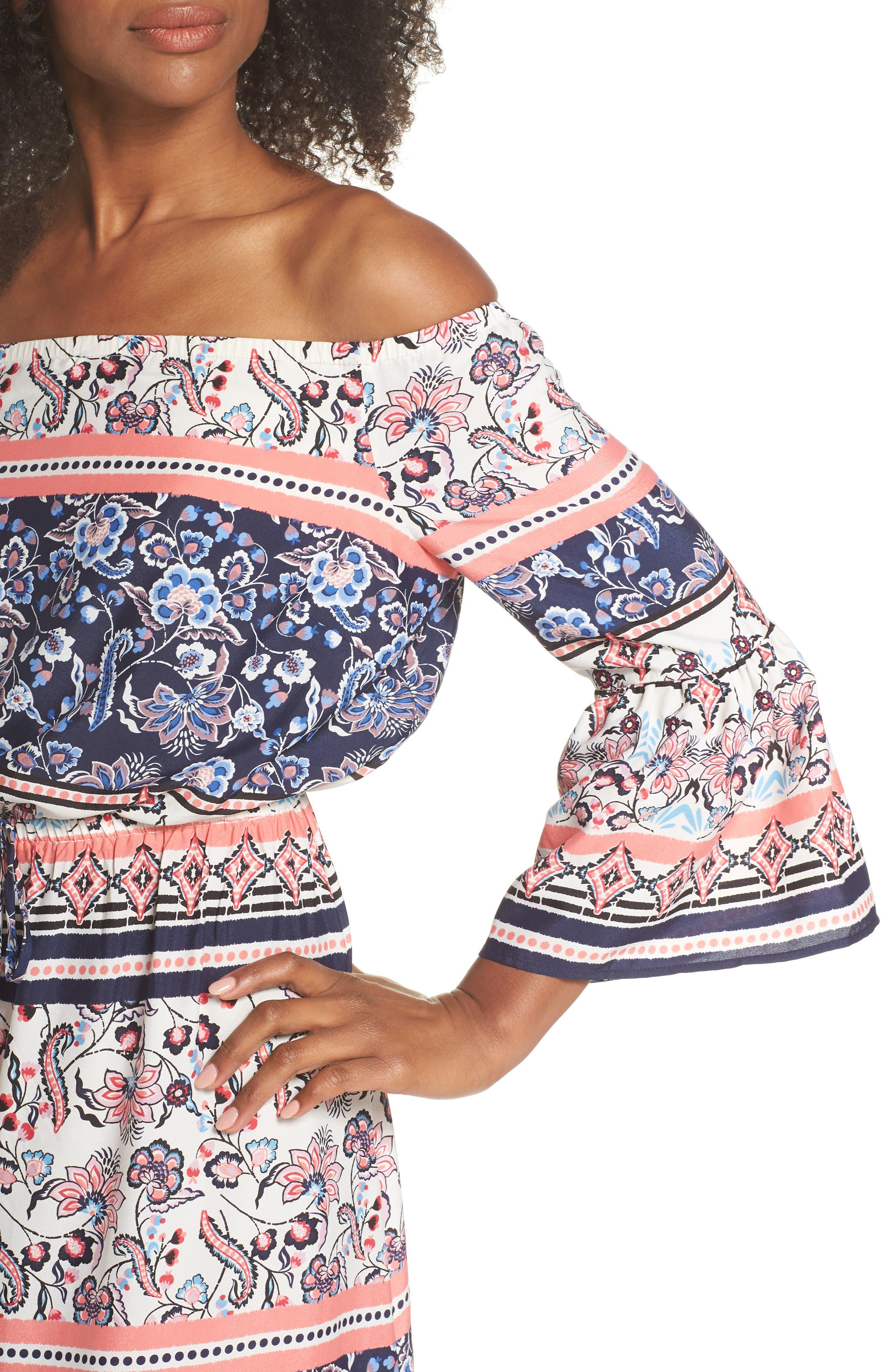 Off the Shoulder Tie Waist Maxi Dress,                             Alternate thumbnail 4, color,                             470