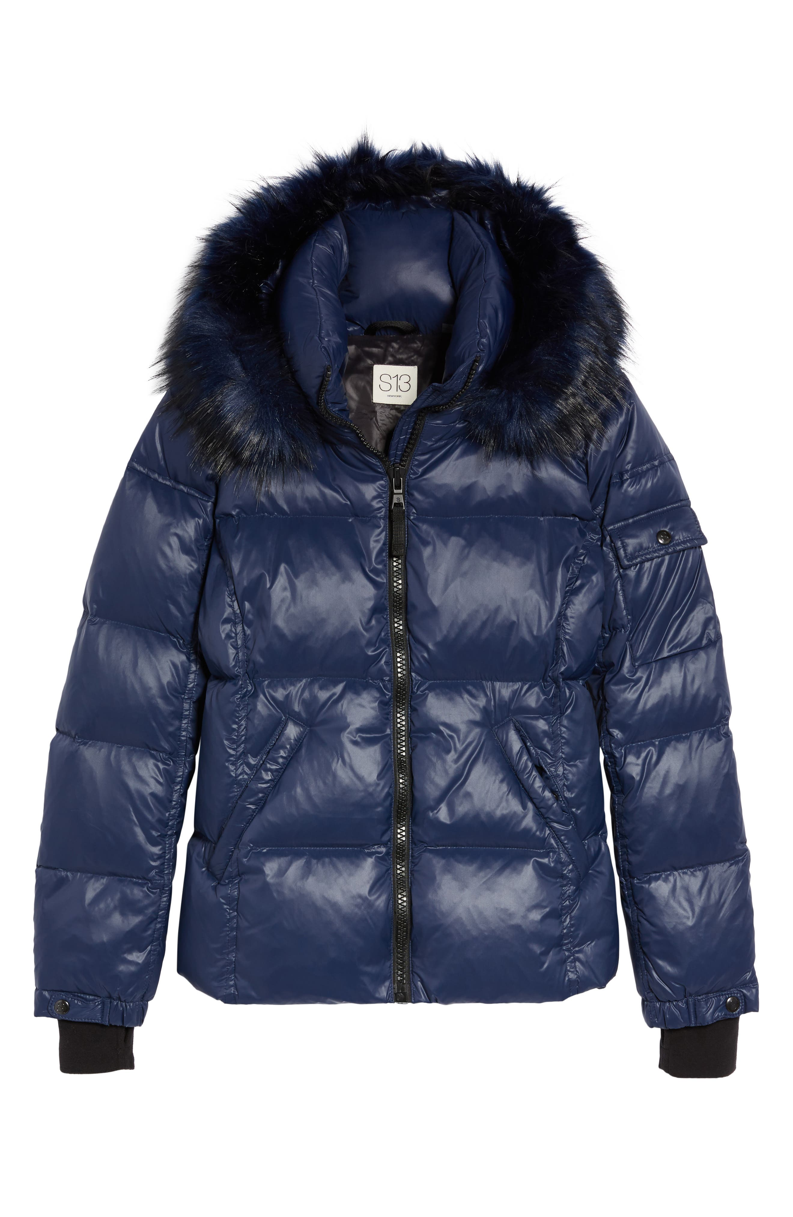 Kylie Faux Fur Trim Gloss Puffer Jacket,                             Alternate thumbnail 26, color,