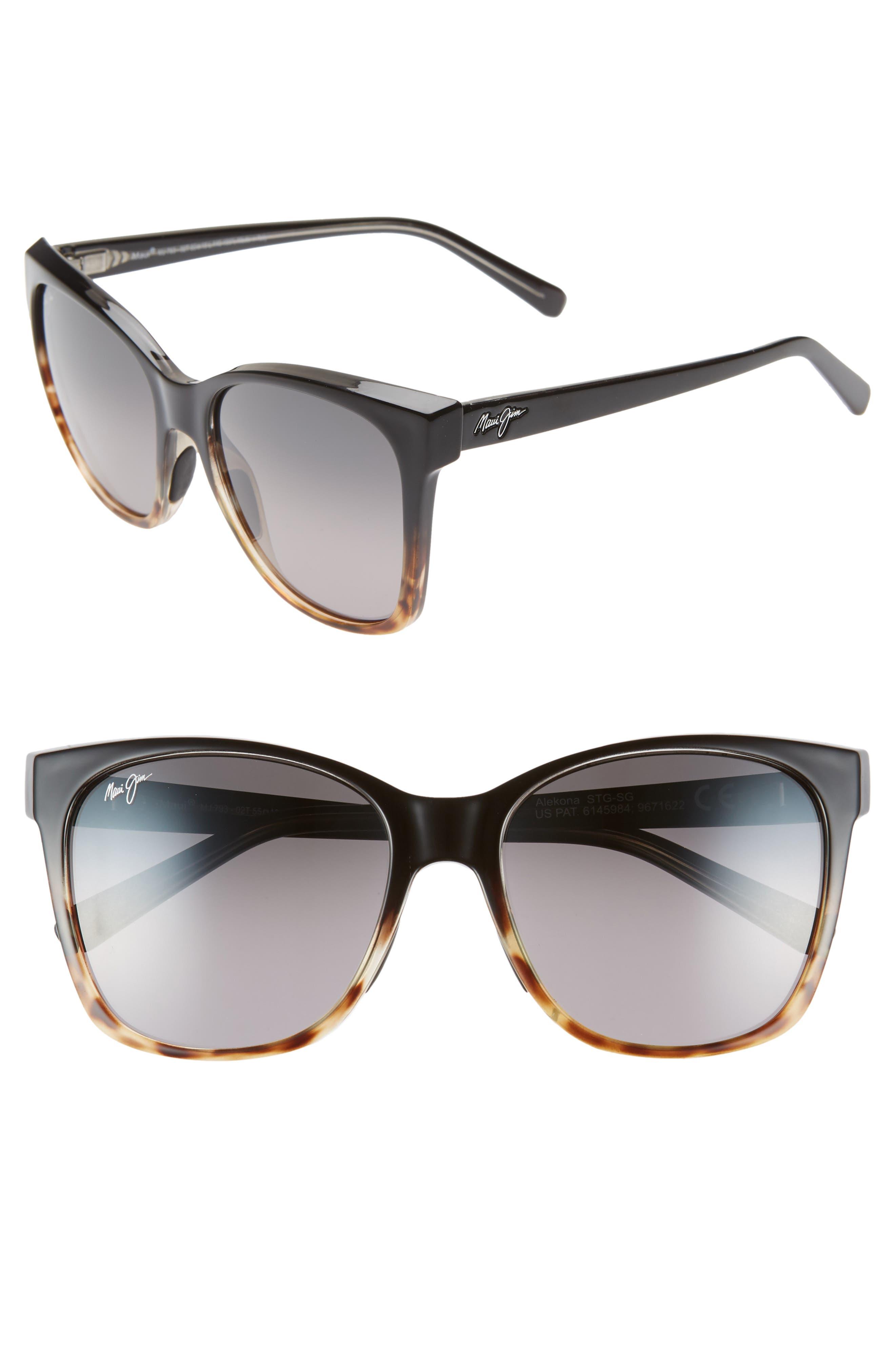 Maui Jim Alekona 55Mm Sunglasses - Black W Tokyo Tort/neut Grey