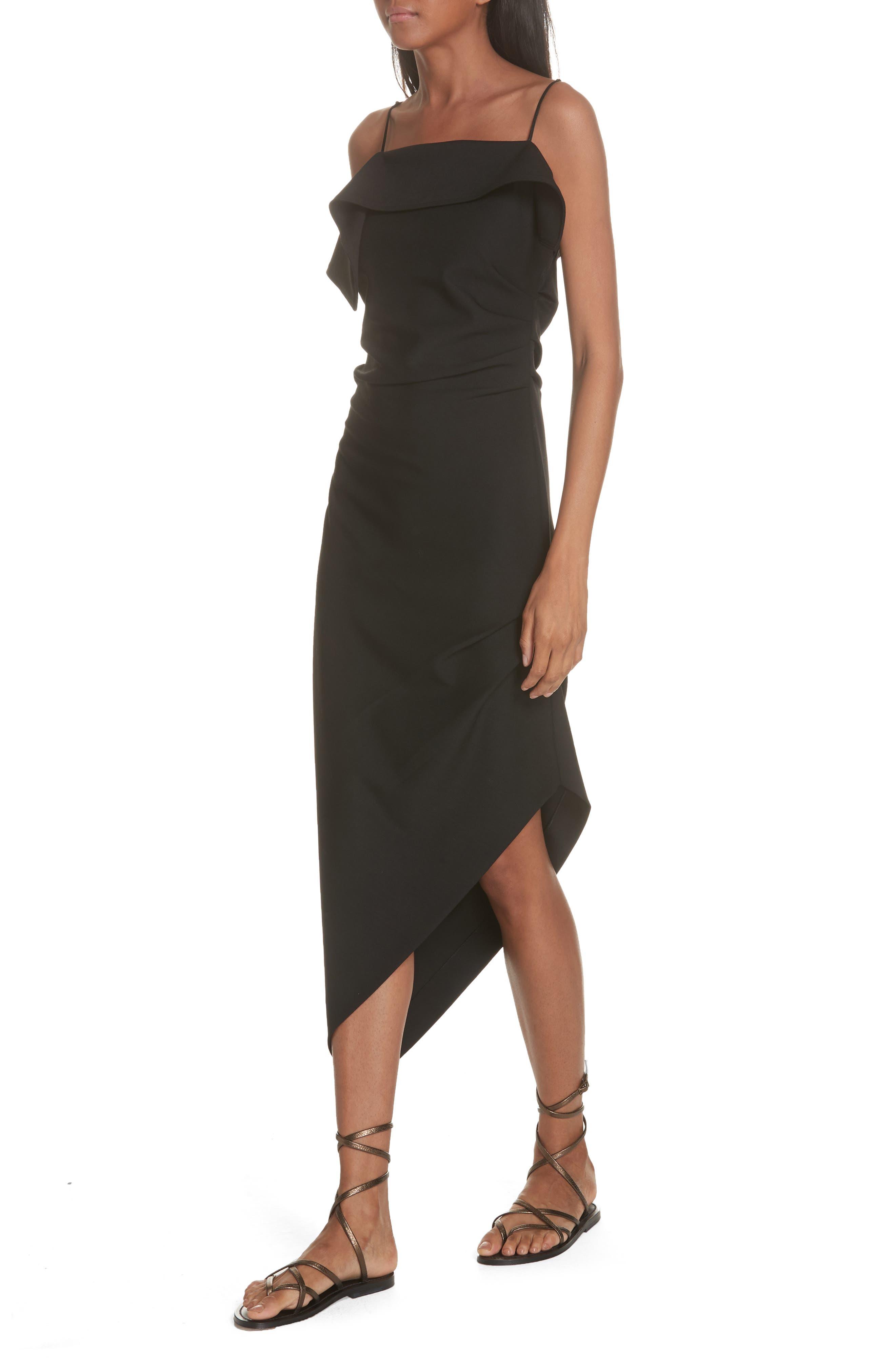 Ruffle Neck Asymmetrical Dress,                             Alternate thumbnail 4, color,                             BLACK