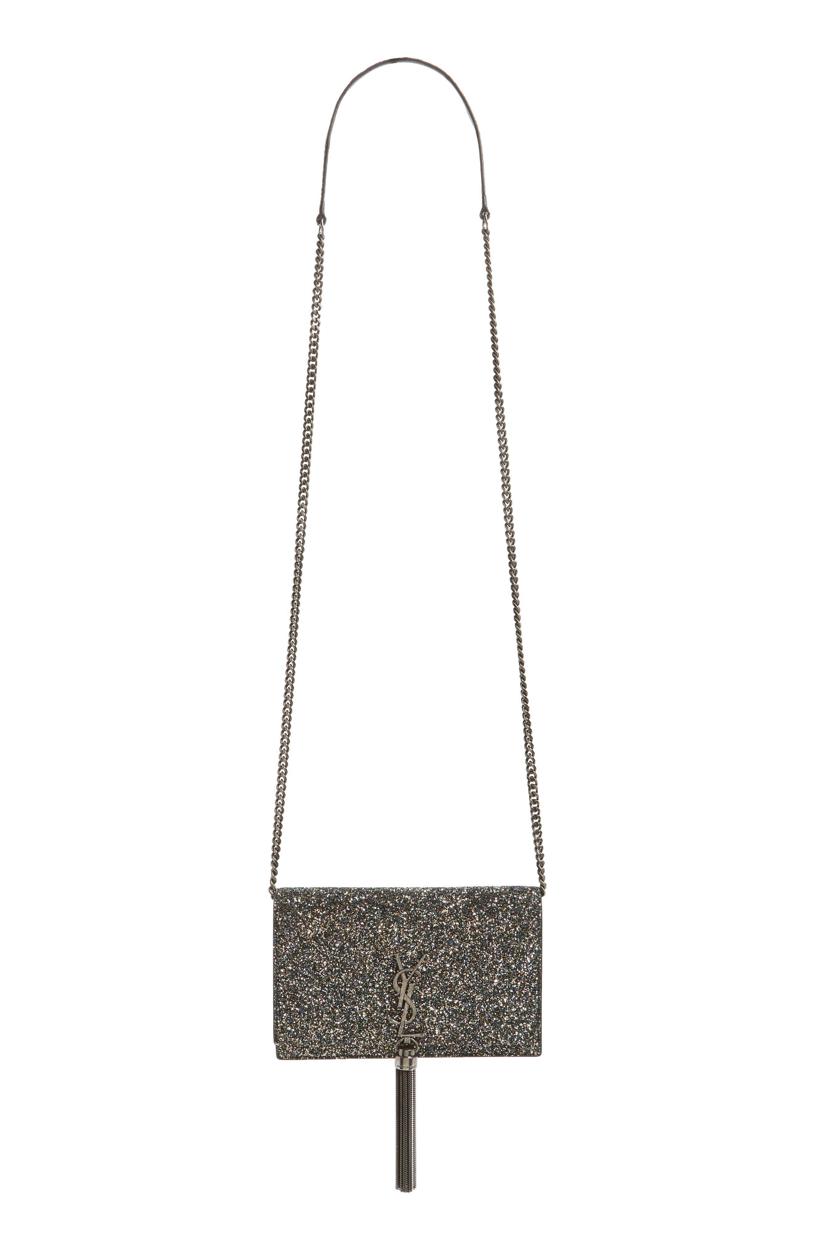 Kate Glitter Wallet on a Chain,                             Alternate thumbnail 2, color,                             OLIVE/ NERO