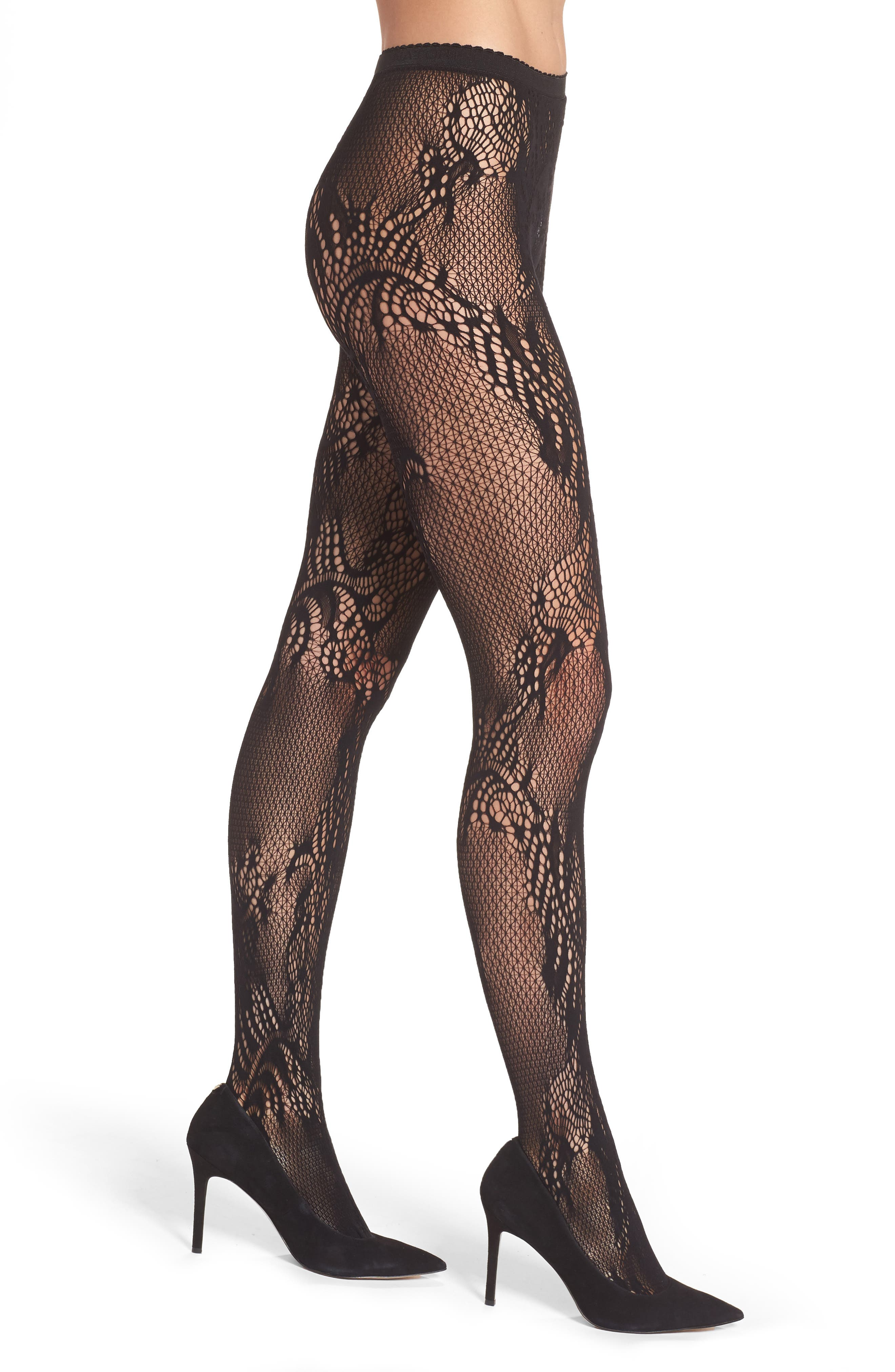 Natori Feather Lace Fishnet Tights