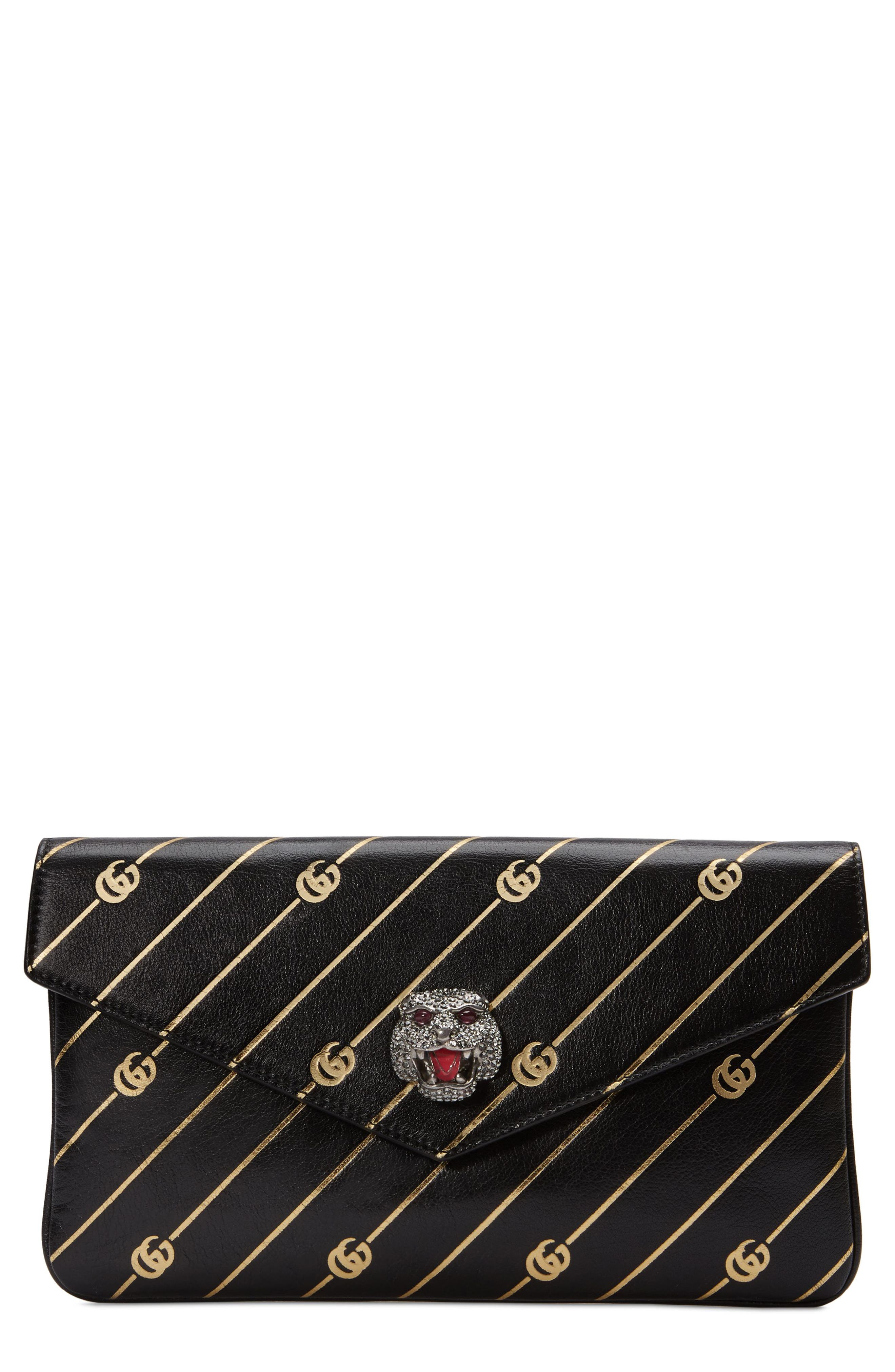 Broadway GG Archive-P Leather Envelope Clutch,                         Main,                         color, NERO ORO MULTI