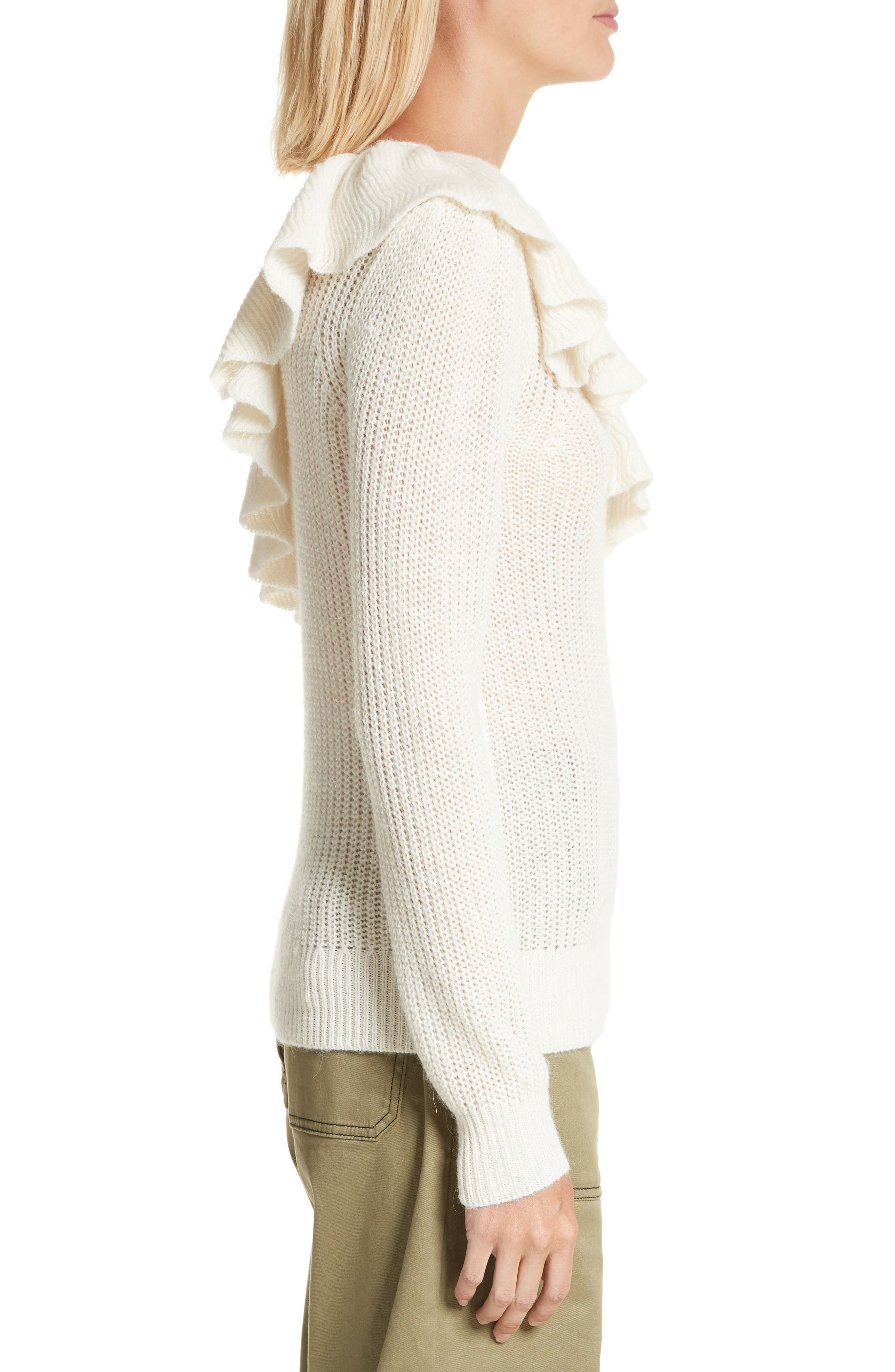 One-Shoulder Ruffle Sweater,                             Alternate thumbnail 3, color,                             907