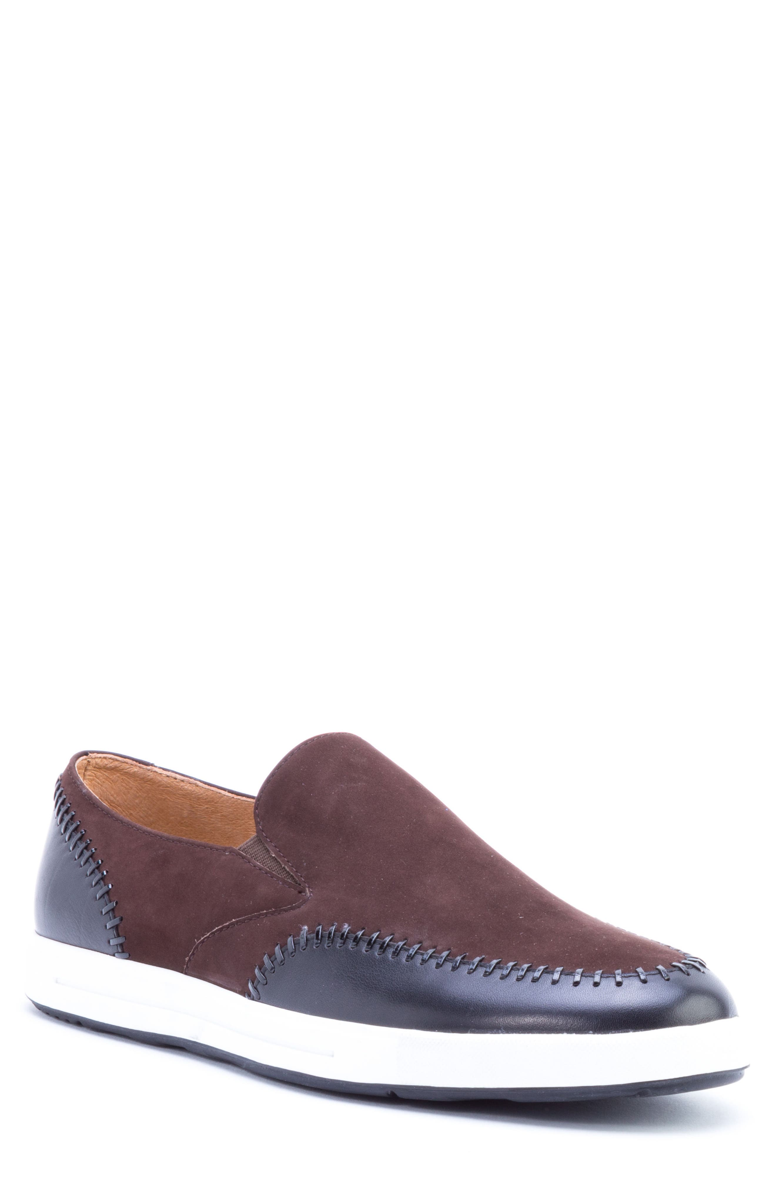 Caravaggio Whipstitched Slip-On Sneaker,                             Main thumbnail 1, color,                             BROWN SUEDE/ LEATHER