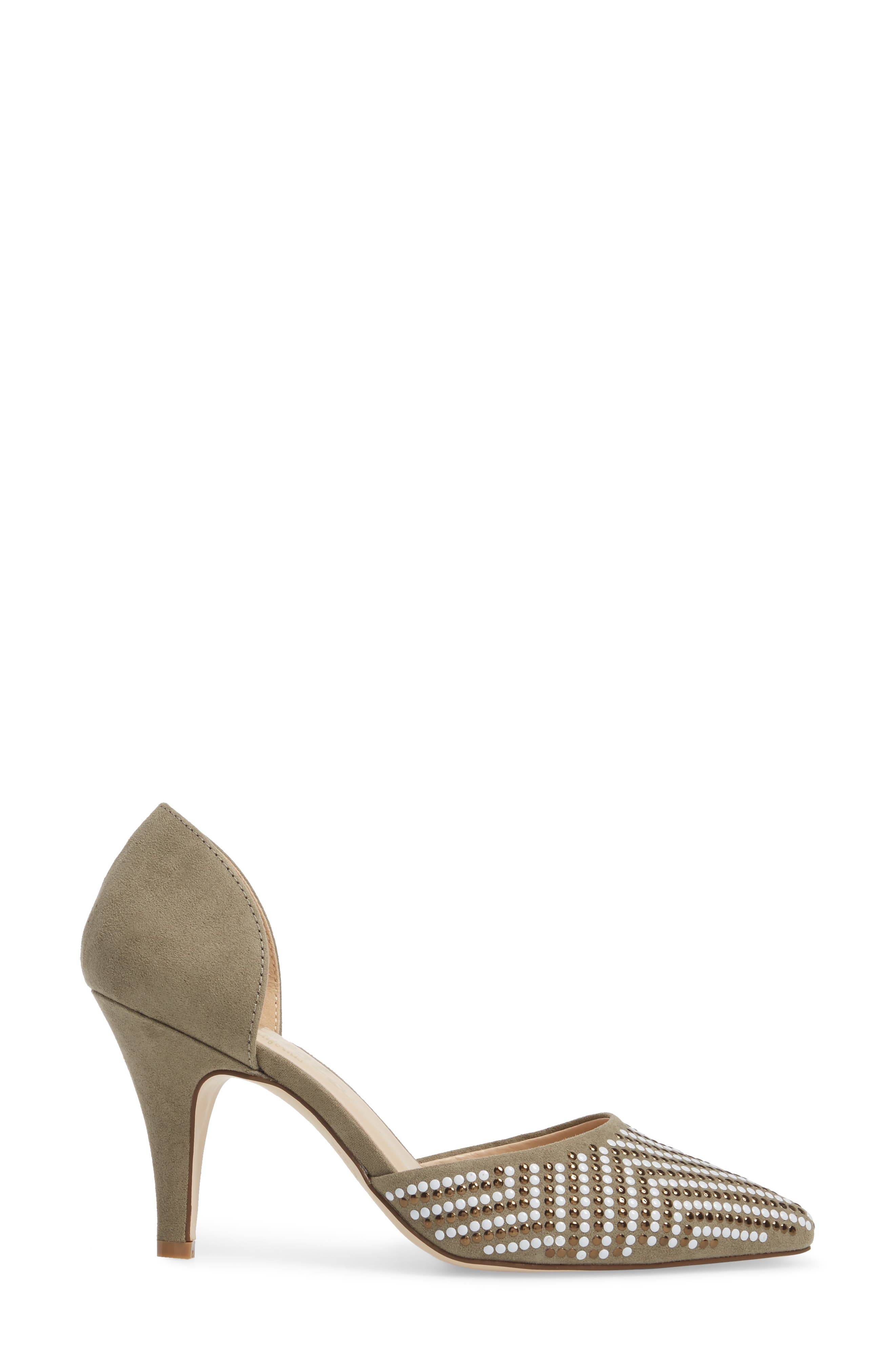Mimosa Studded d'Orsay Pump,                             Alternate thumbnail 3, color,                             OLIVE SUEDE