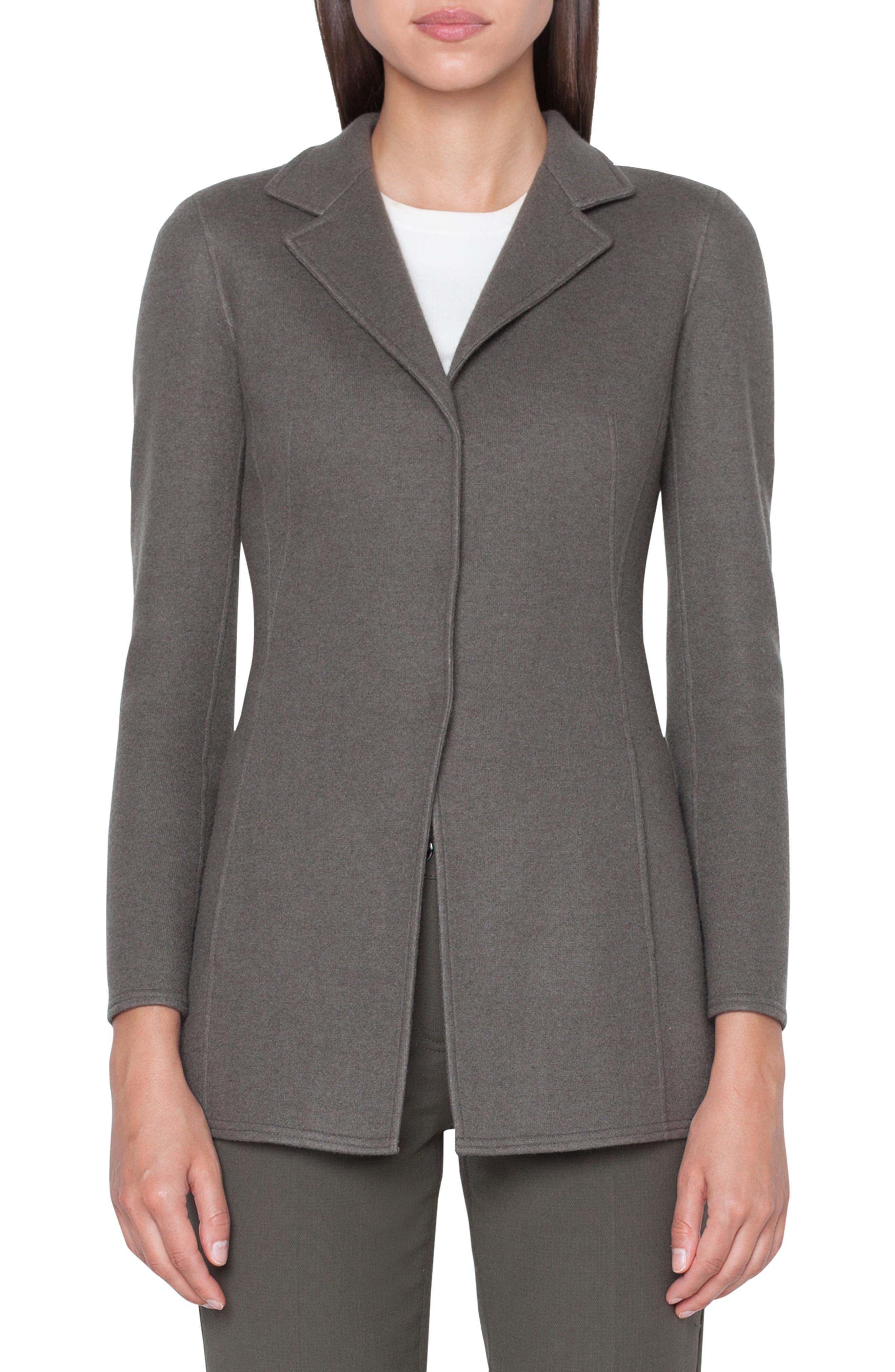 Cashmere Blend Jersey Blazer, Main, color, MAGNET-KRAFT