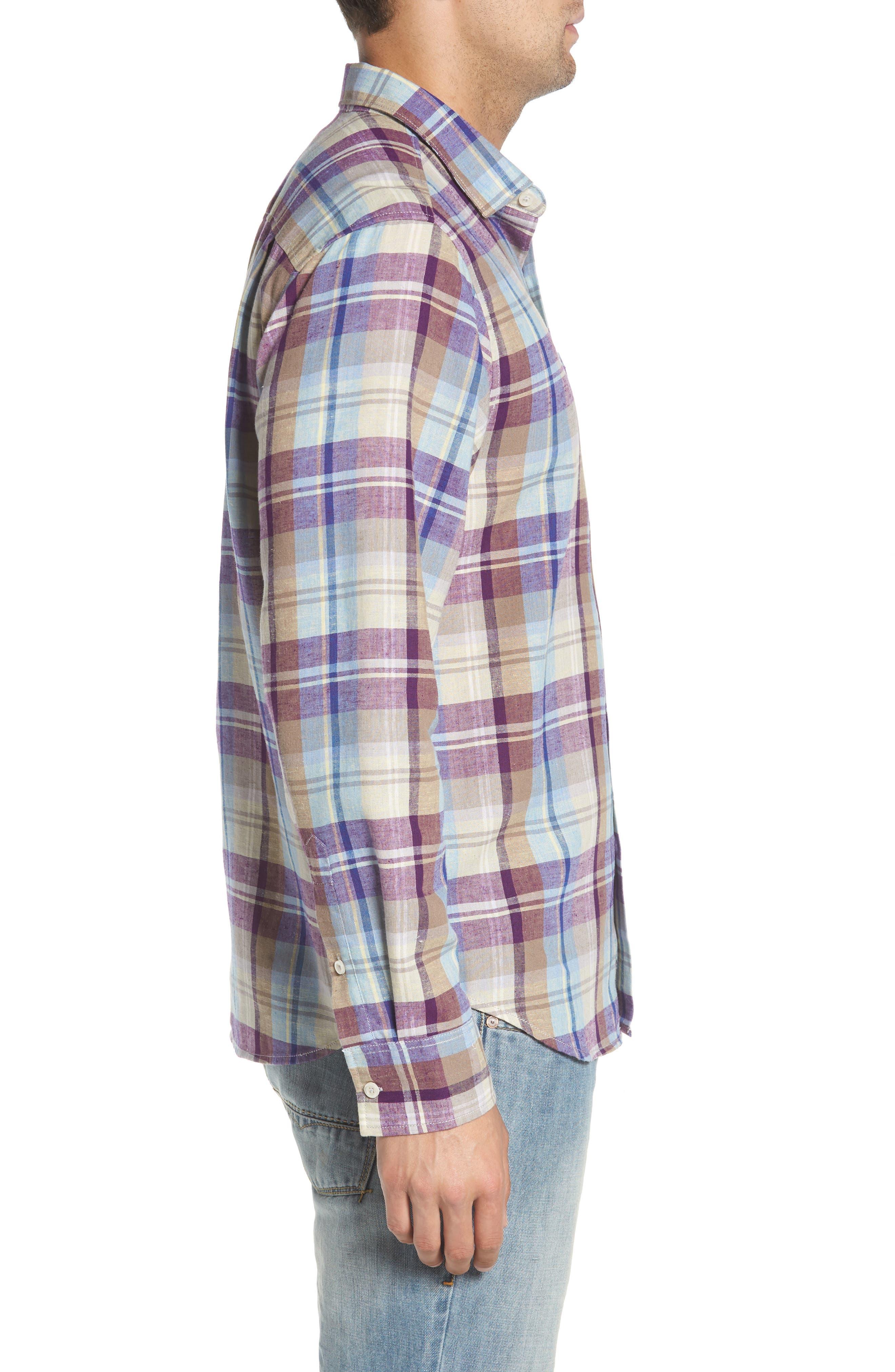 La Paz Plaid Linen Blend Sport Shirt,                             Alternate thumbnail 3, color,