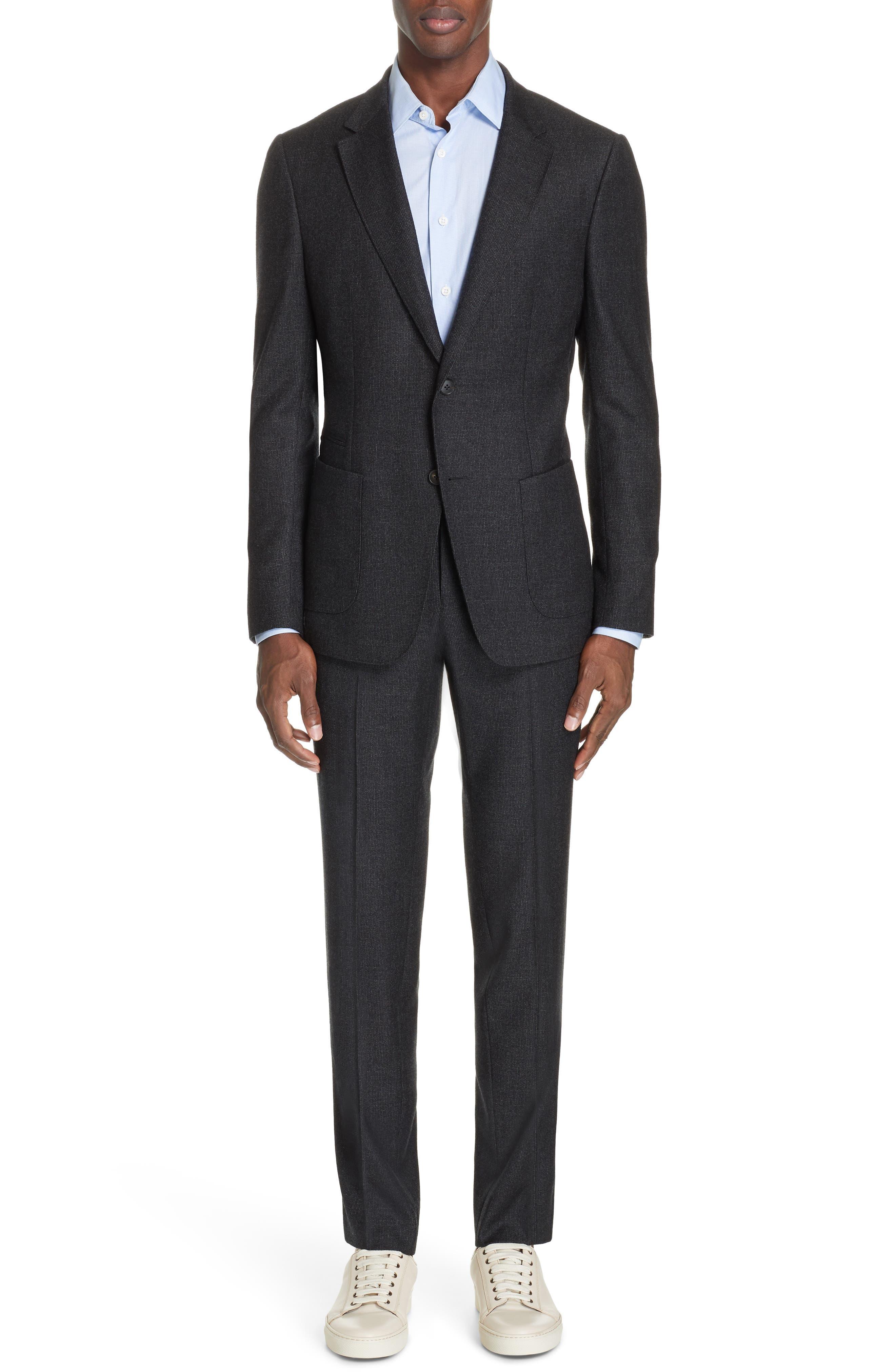 Trim Fit Wash & Go Solid Wool Suit,                         Main,                         color, GREY