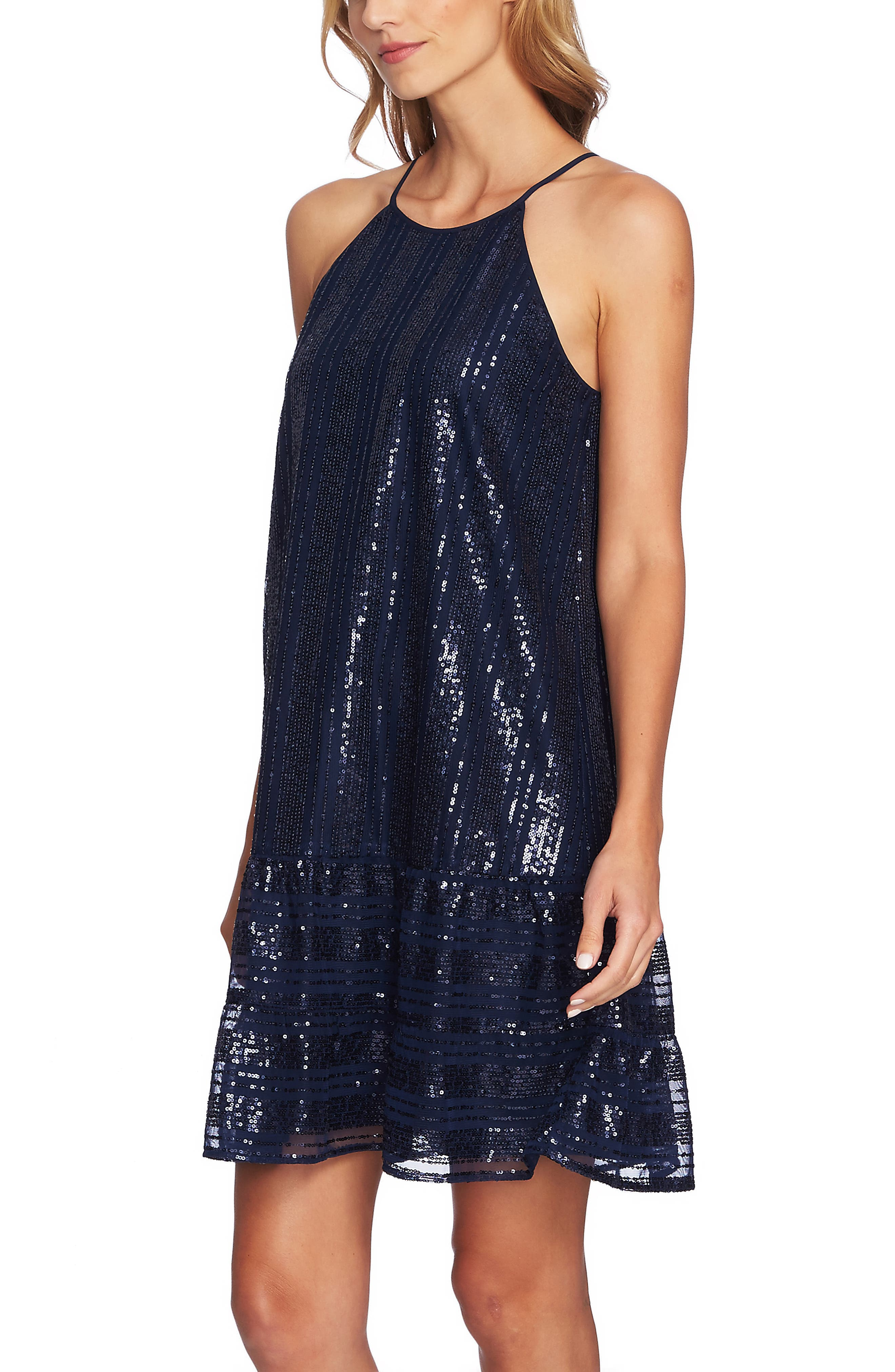 Sequin Ruffle Trim Dress,                             Alternate thumbnail 4, color,                             MIDNIGHT BLOOM