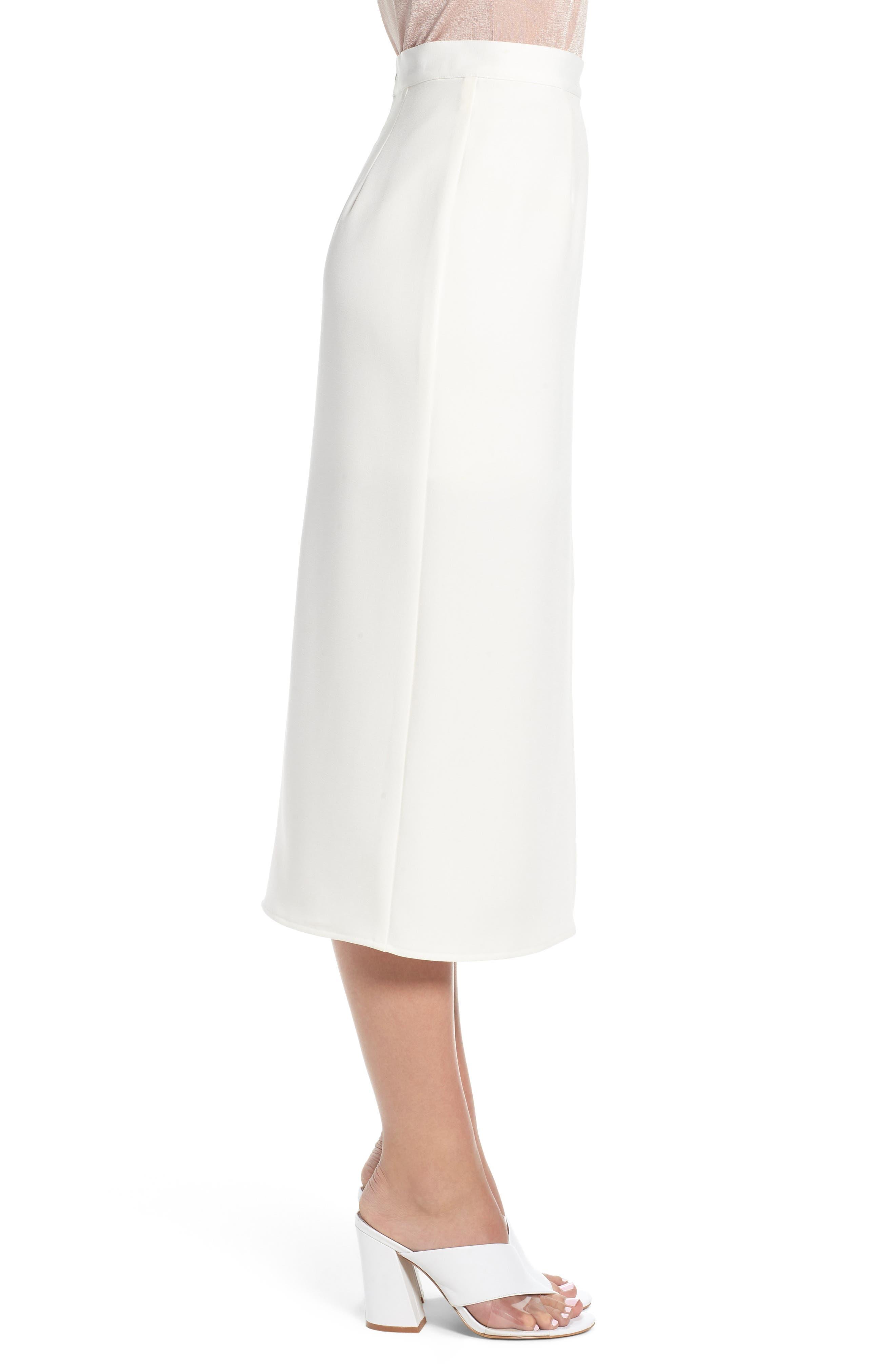 Brady Satin Midi Skirt,                             Alternate thumbnail 3, color,                             IVORY