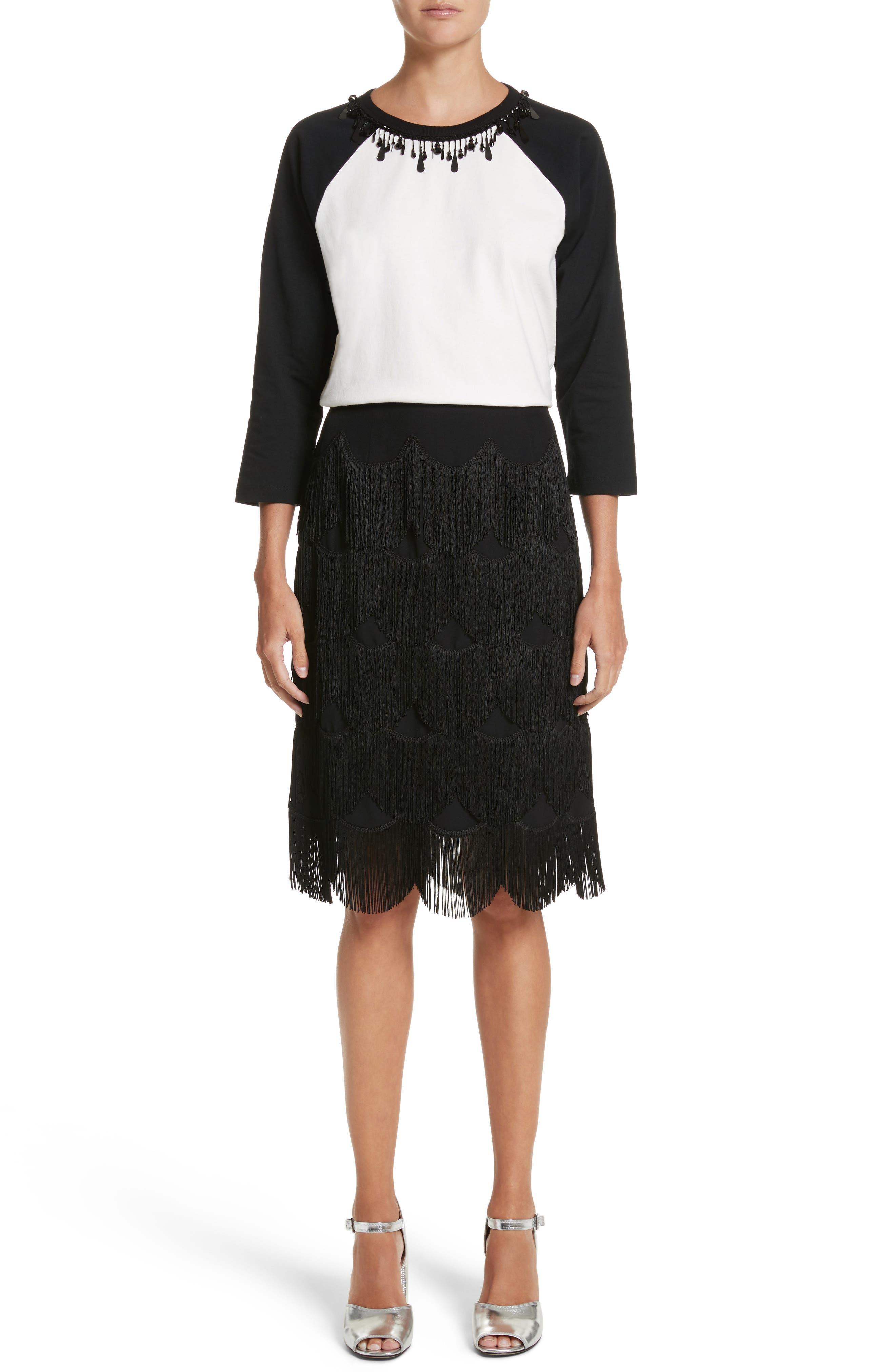 Fringe Skirt,                             Alternate thumbnail 7, color,                             001