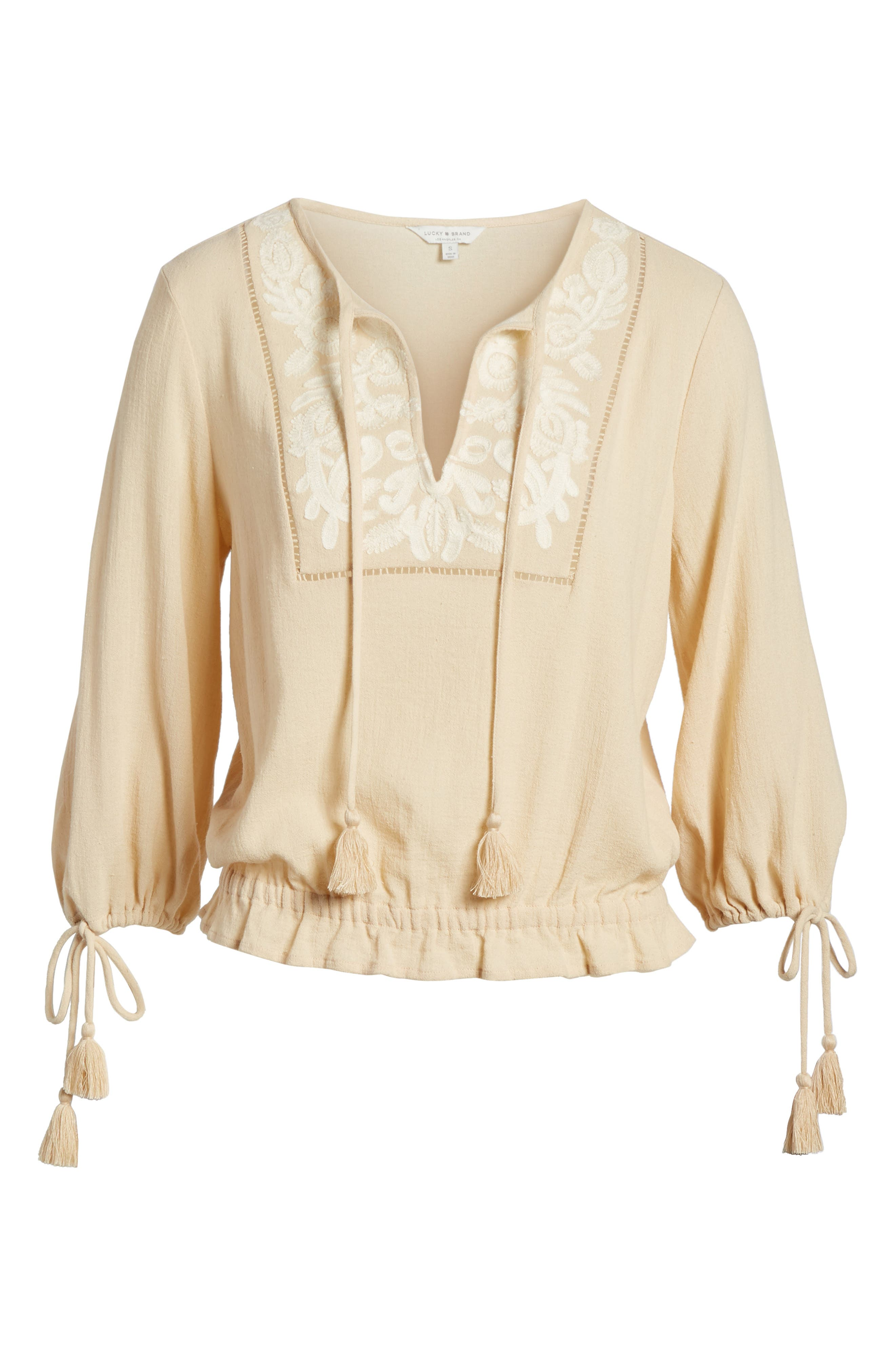 Embroidered Cotton Tassel Top,                             Alternate thumbnail 7, color,                             250