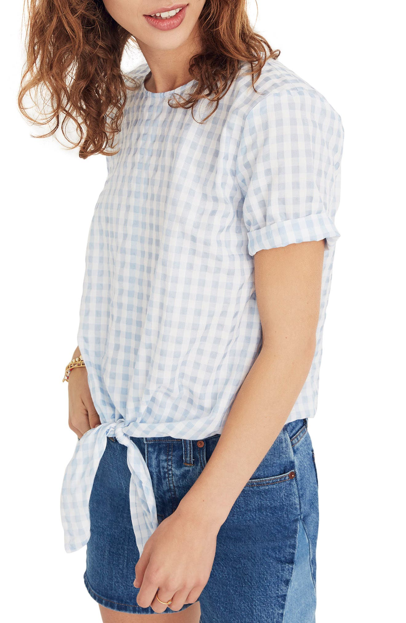 Button Back Tie Front Gingham Check Top,                             Main thumbnail 1, color,                             400